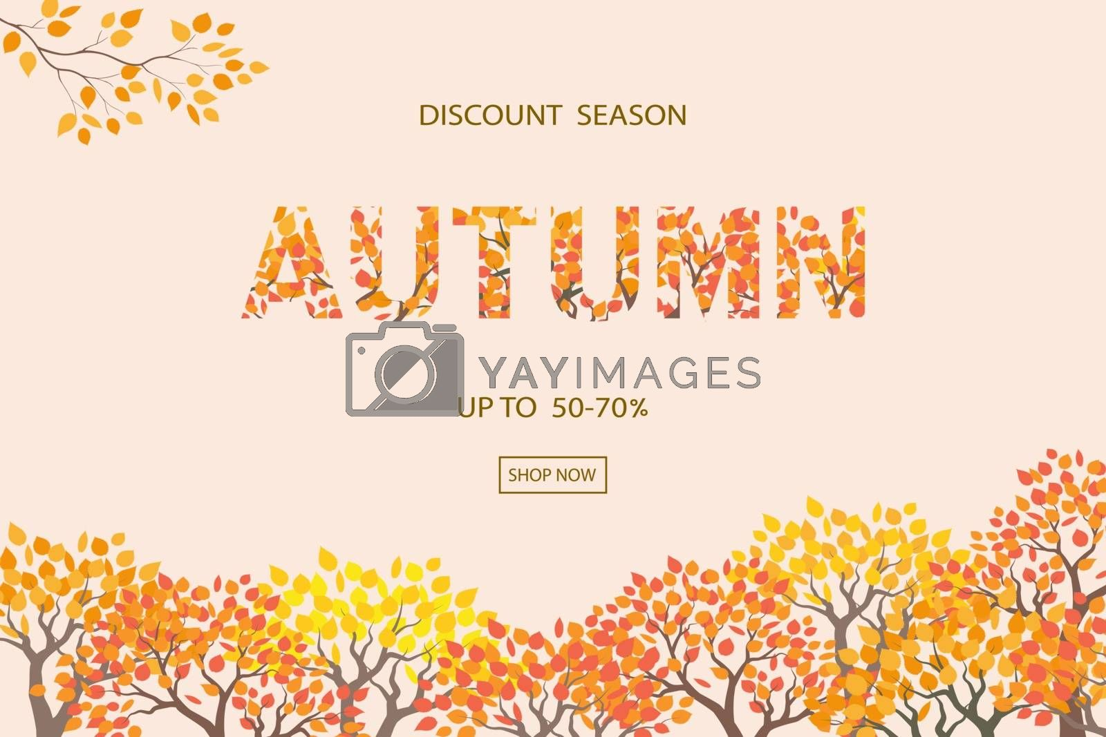 Autumn or Fall background,discount season with text for shopping promotion,banner,poster,flyer or website by PIMPAKA