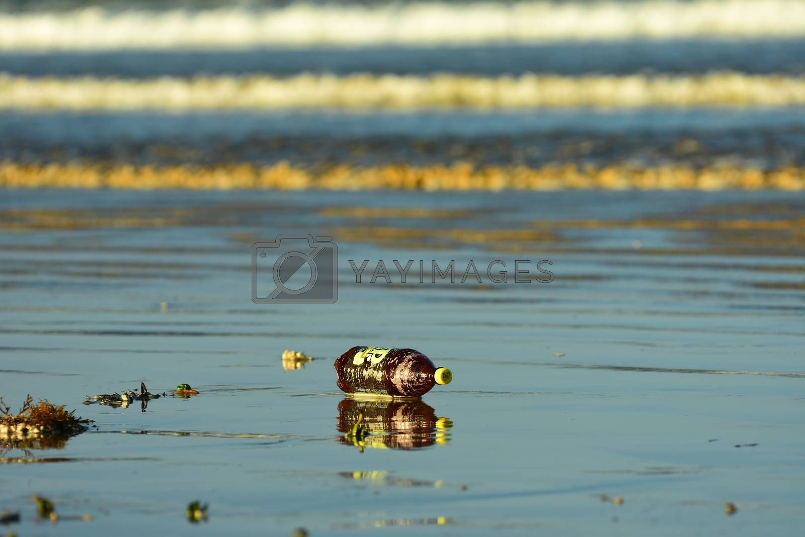 Sea pollution, with a plastic bottle washed ashore on a beach.