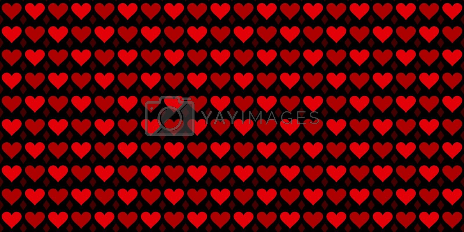 Colorful Red Hearts Seamless Pattern. Vector Illustration Background Art. Vector illustration
