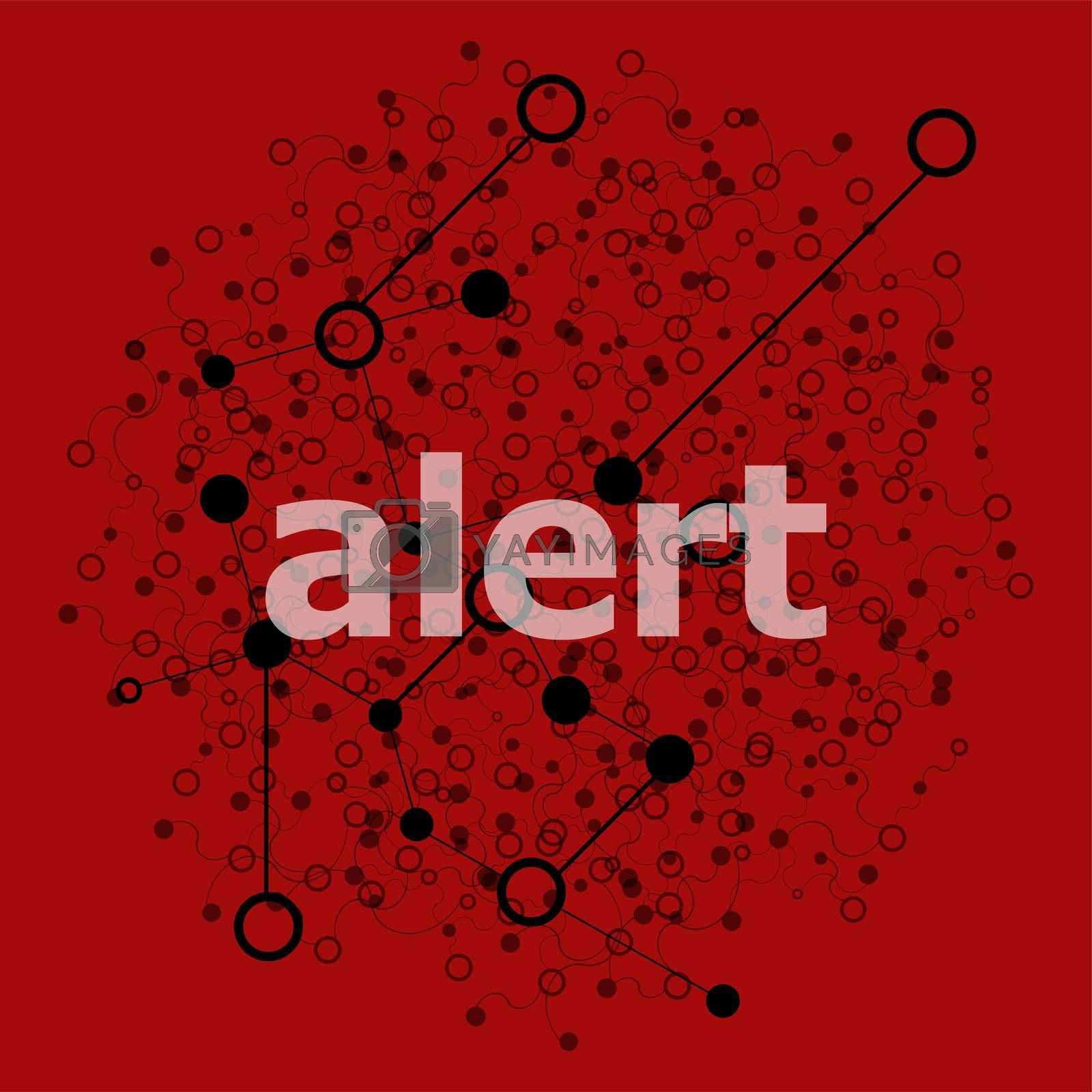 Text Alert. Security concept . Abstract background with connecting dots and lines