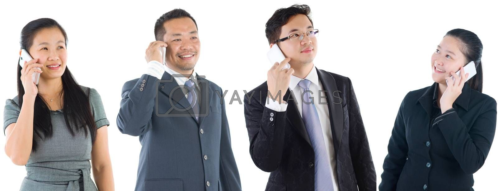 Portraits of diverse asian people and mixed age group of business professionals making call with smartphone.Concept of financial, technology and marketing business.