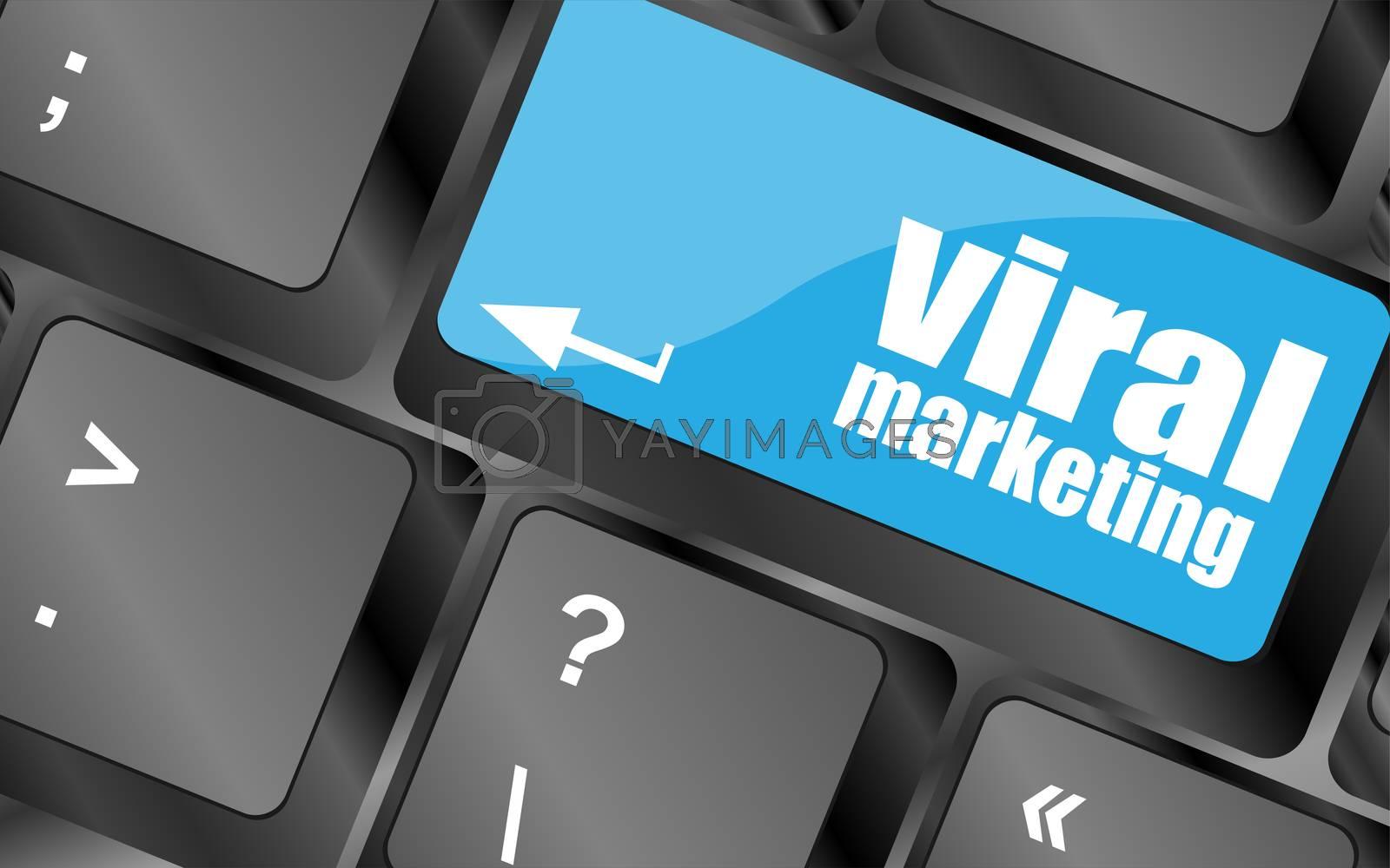 viral marketing words on computer keyboard key