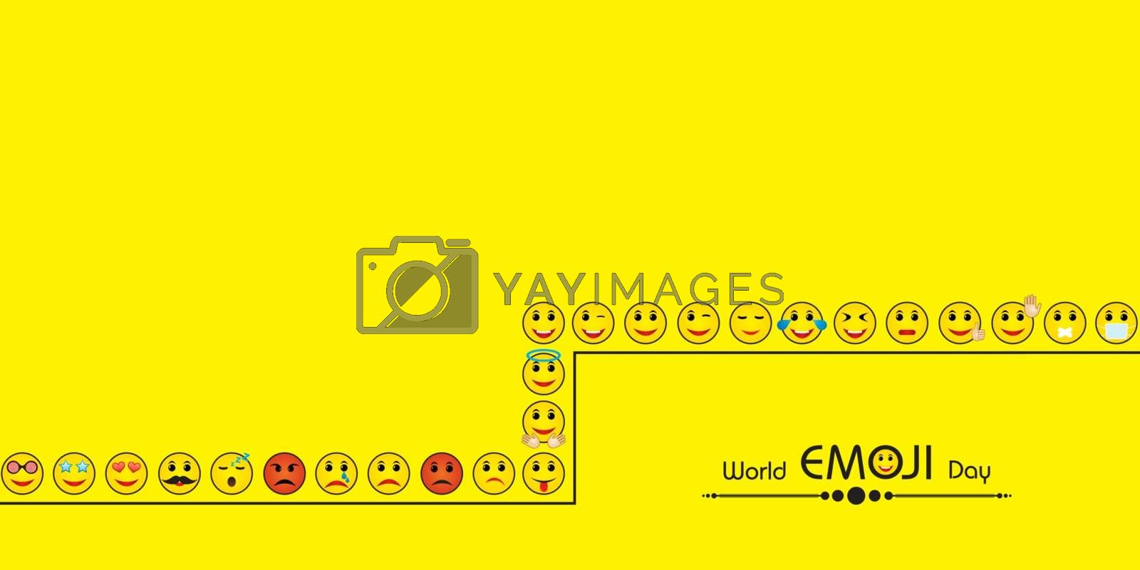Vector illustration of World emoji day greeting card design template with different feelings