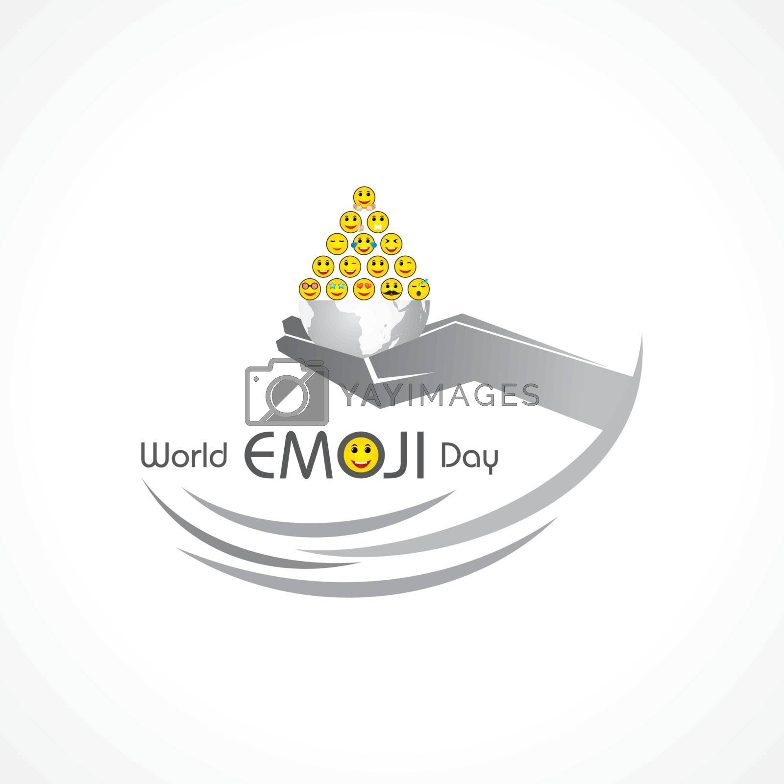 World emoji day greeting card design template with different feelings by graphicsdunia4you