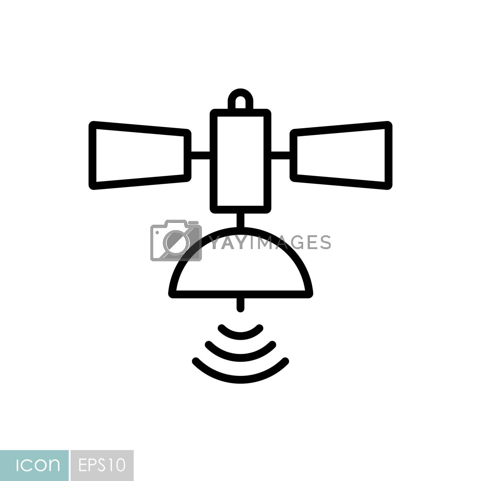 Satellite vector icon. Navigation sign. Graph symbol for travel and tourism web site and apps design, logo, app, UI