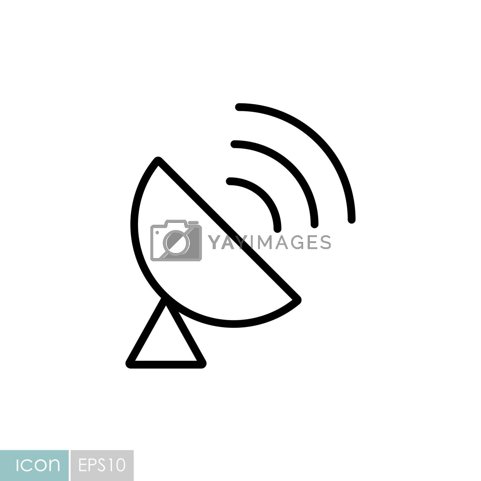 Sputnik antenna vector icon. Navigation sign. Graph symbol for travel and tourism web site and apps design, logo, app, UI