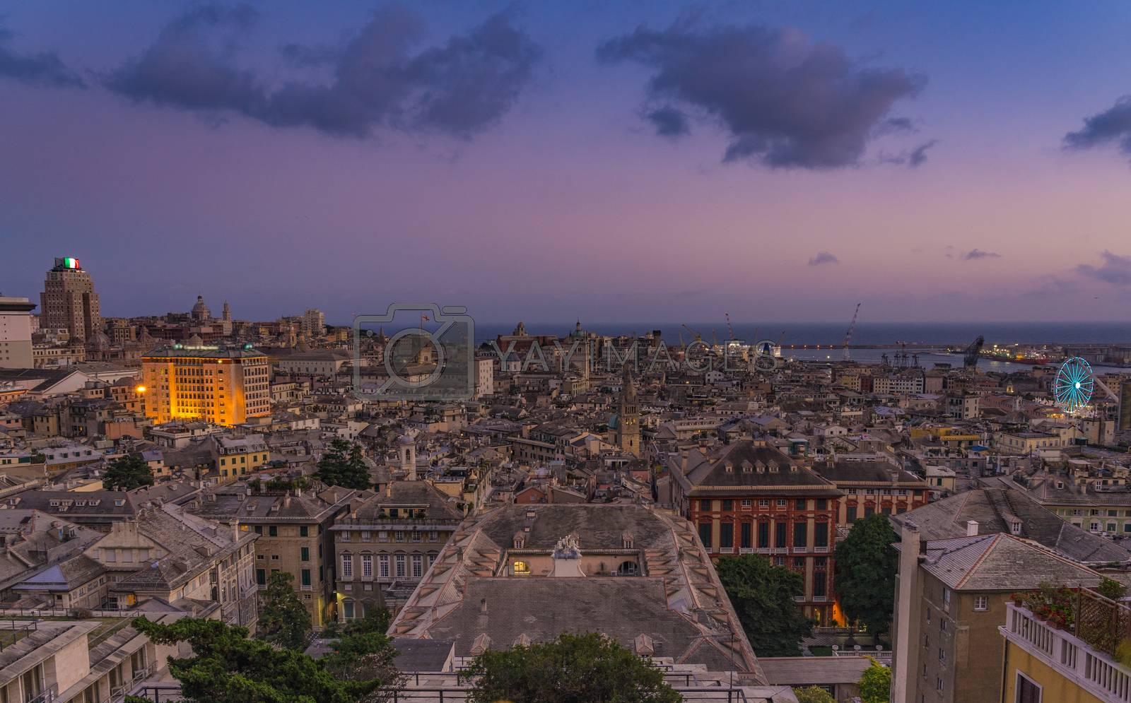 Royalty free image of Genoa at sunset from Spianata Castelletto, Italy. by maramade