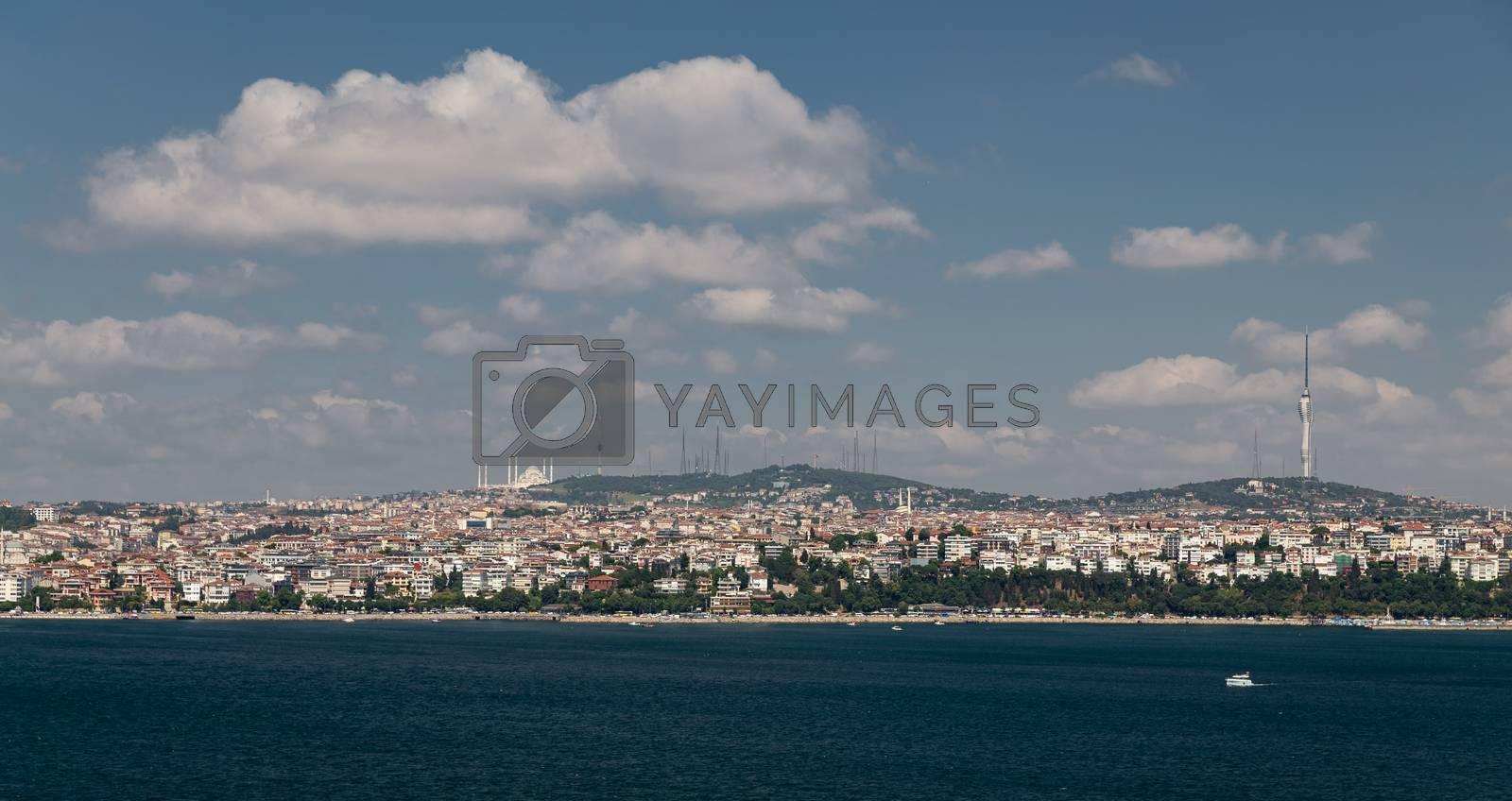 Bosphorus Strait and Uskudar District in Istanbul City, Turkey