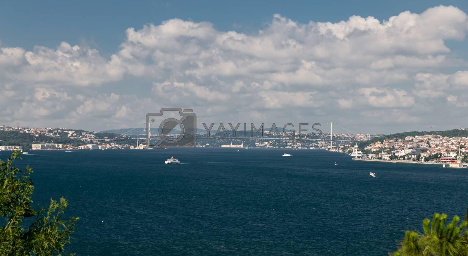Bosphorus Strait and Bosphorus Bridge in Istanbul City, Turkey