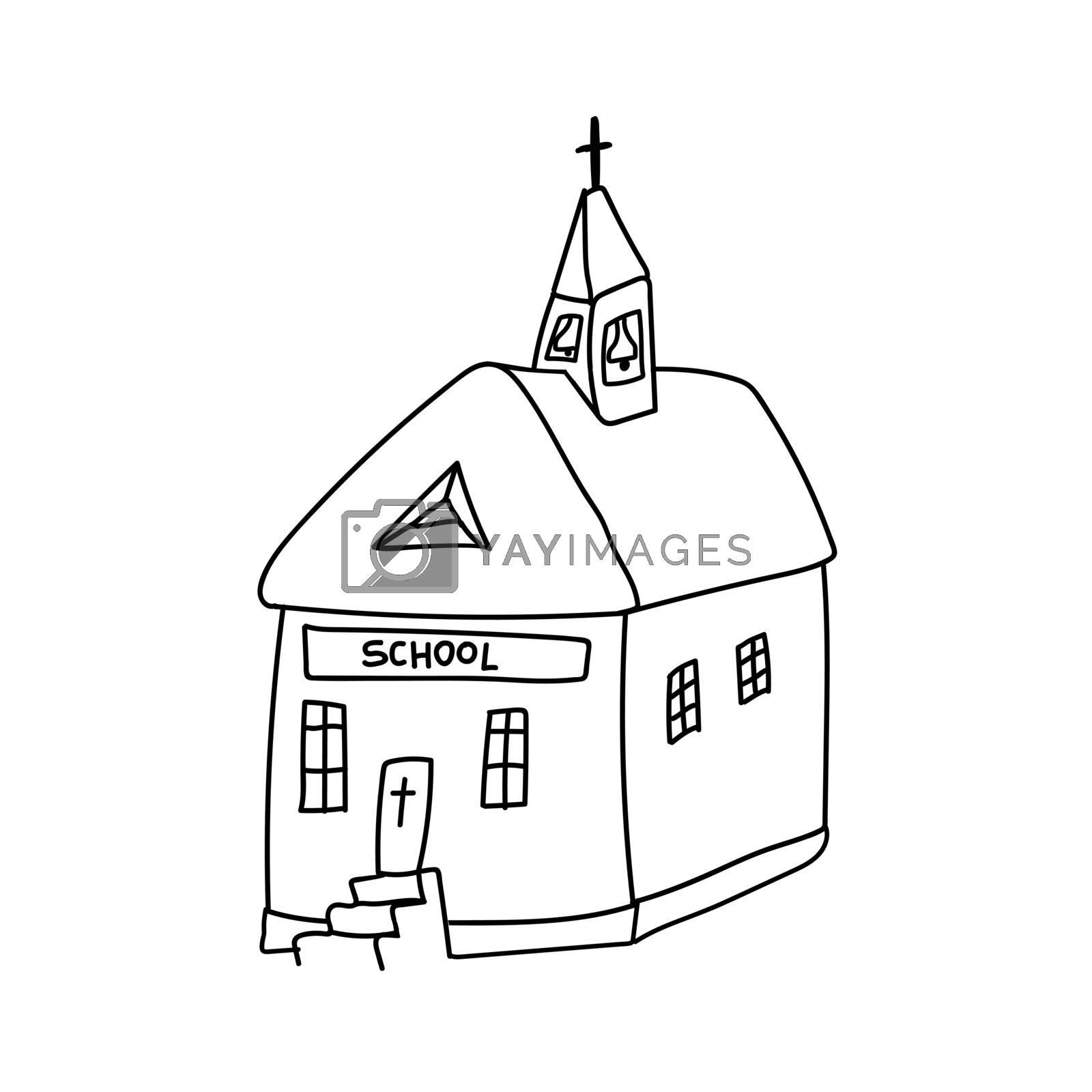 Doodle style Catholic church. Sunday Catholic school. Vector illustration.