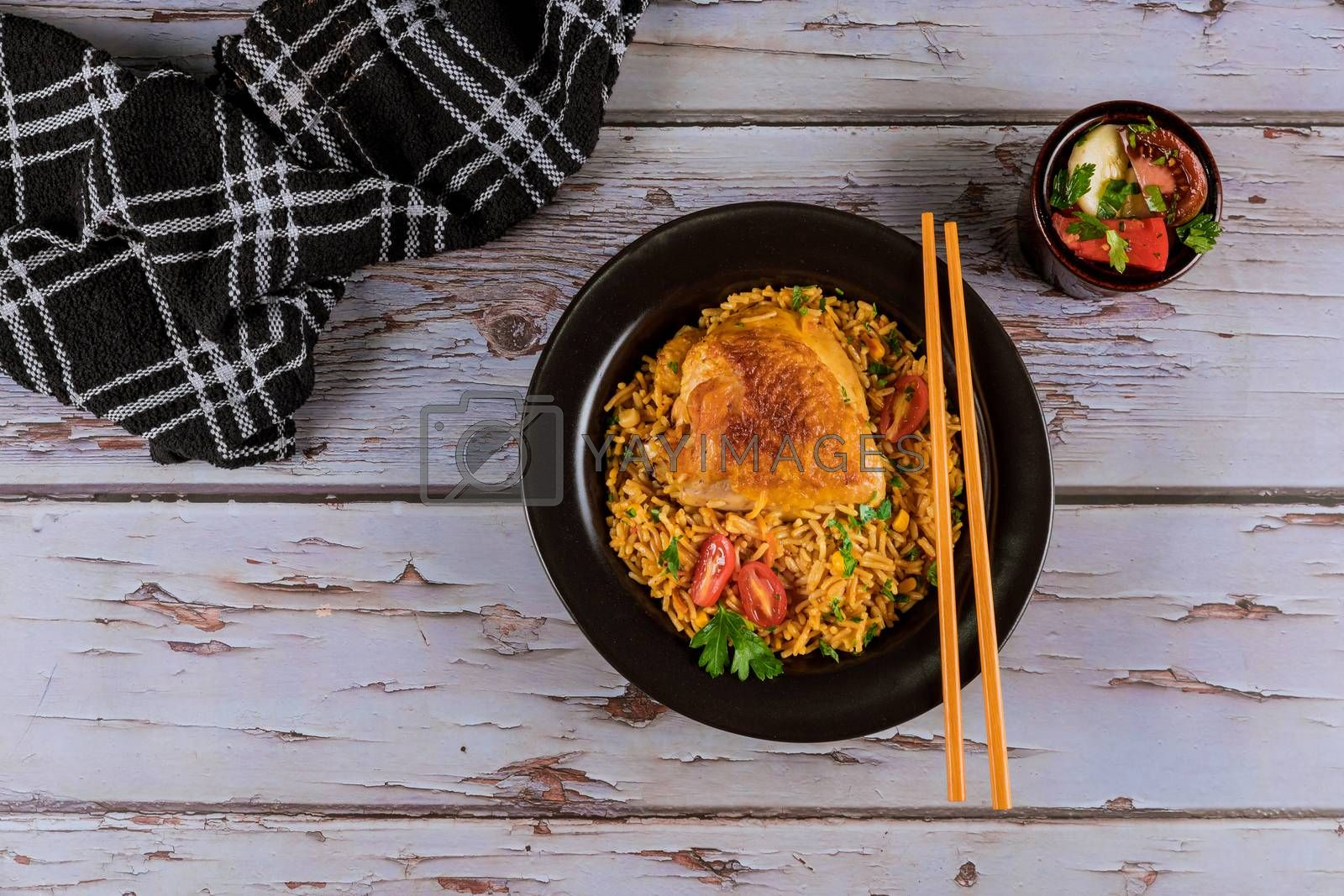 Asian food style rice with fried chicken thai gourmet