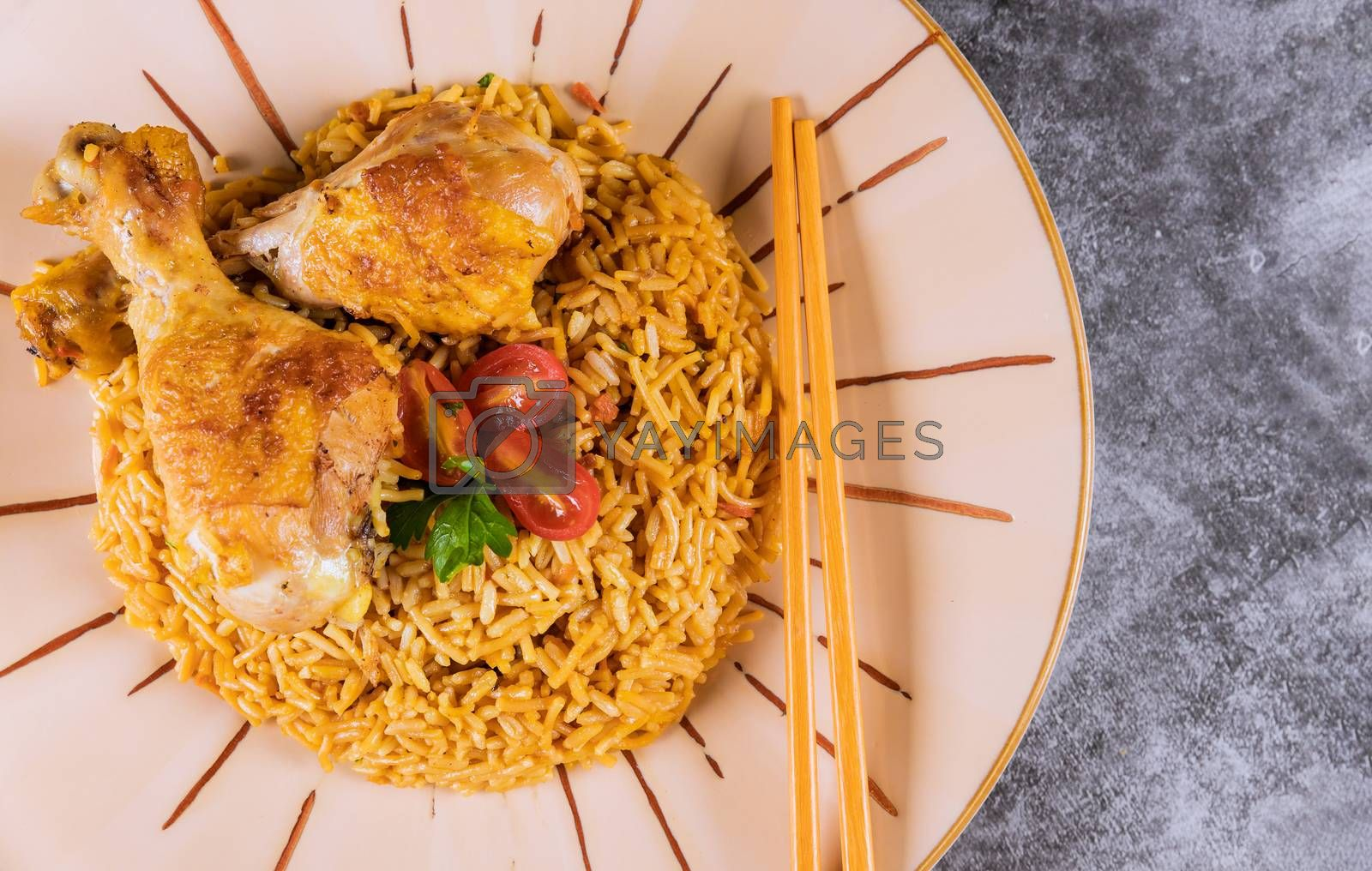 Delicious Singapore style risotto with chicken top view