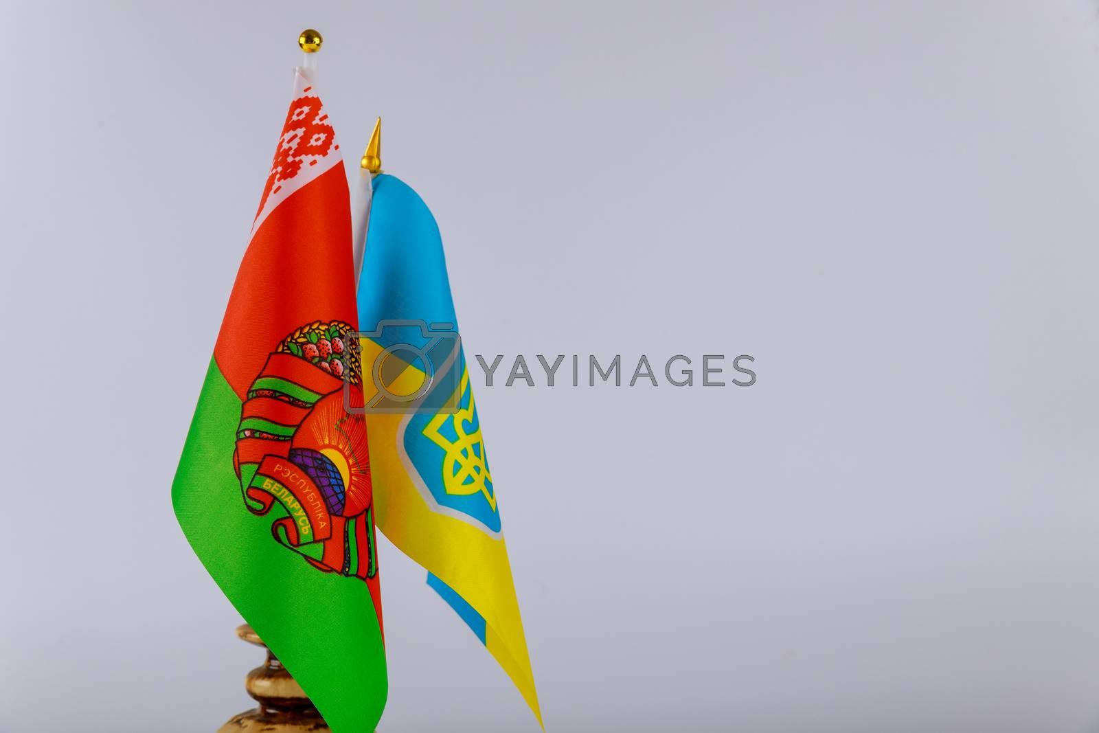 Belarusian and Ukrainian national flags. Symbol Belarusian-Ukrainian friendship by ungvar