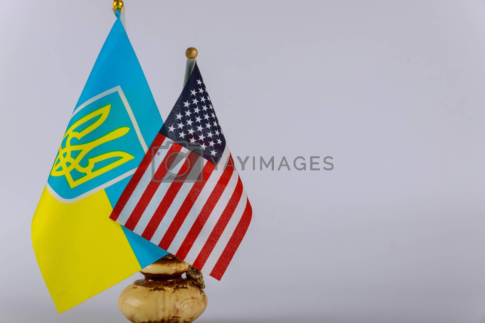 Ukrainian national flags and American flag Symbol of American Ukrainian friendship