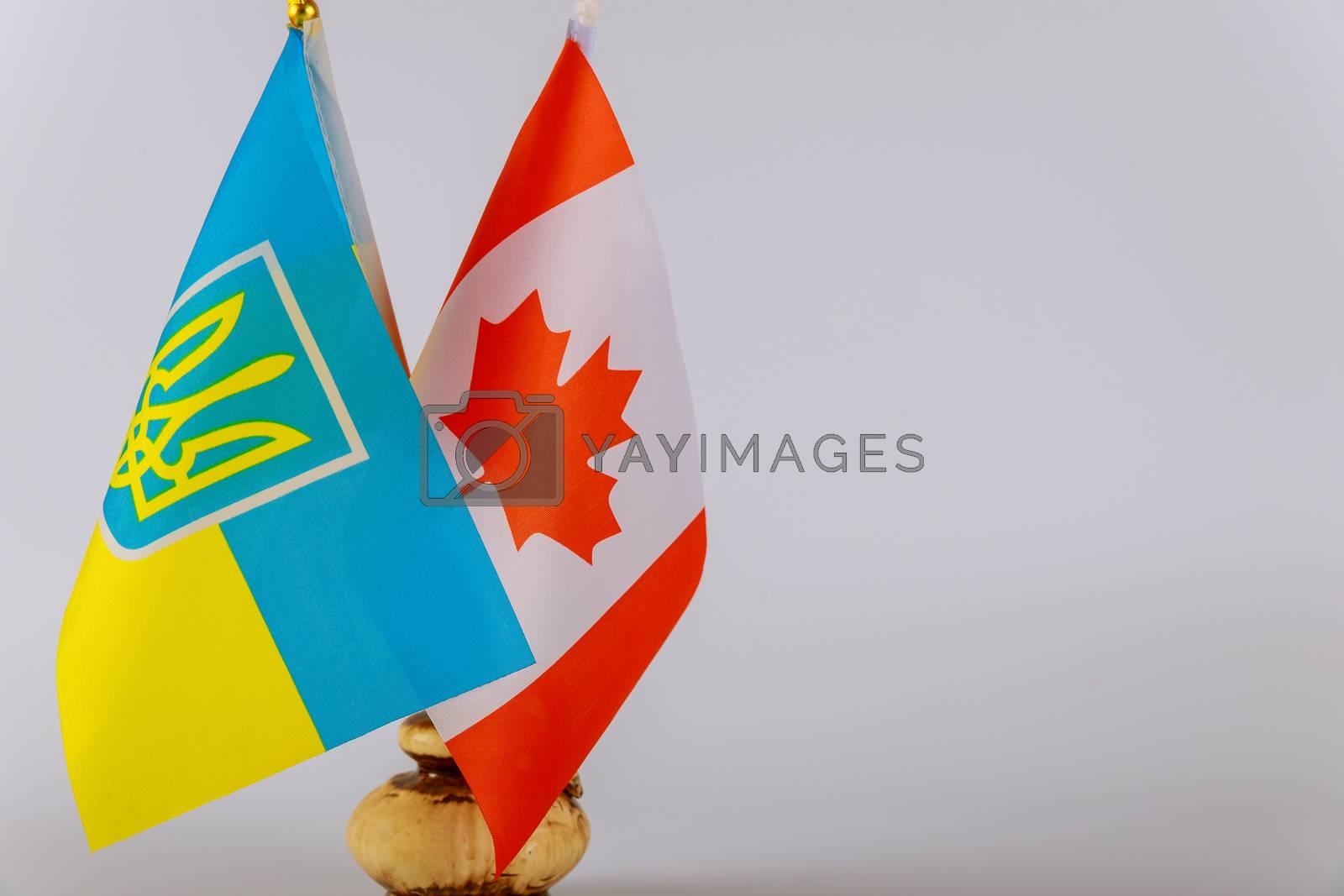 Ukrainian national flags and Canadian flag Symbol of Canadian Ukrainian friendship