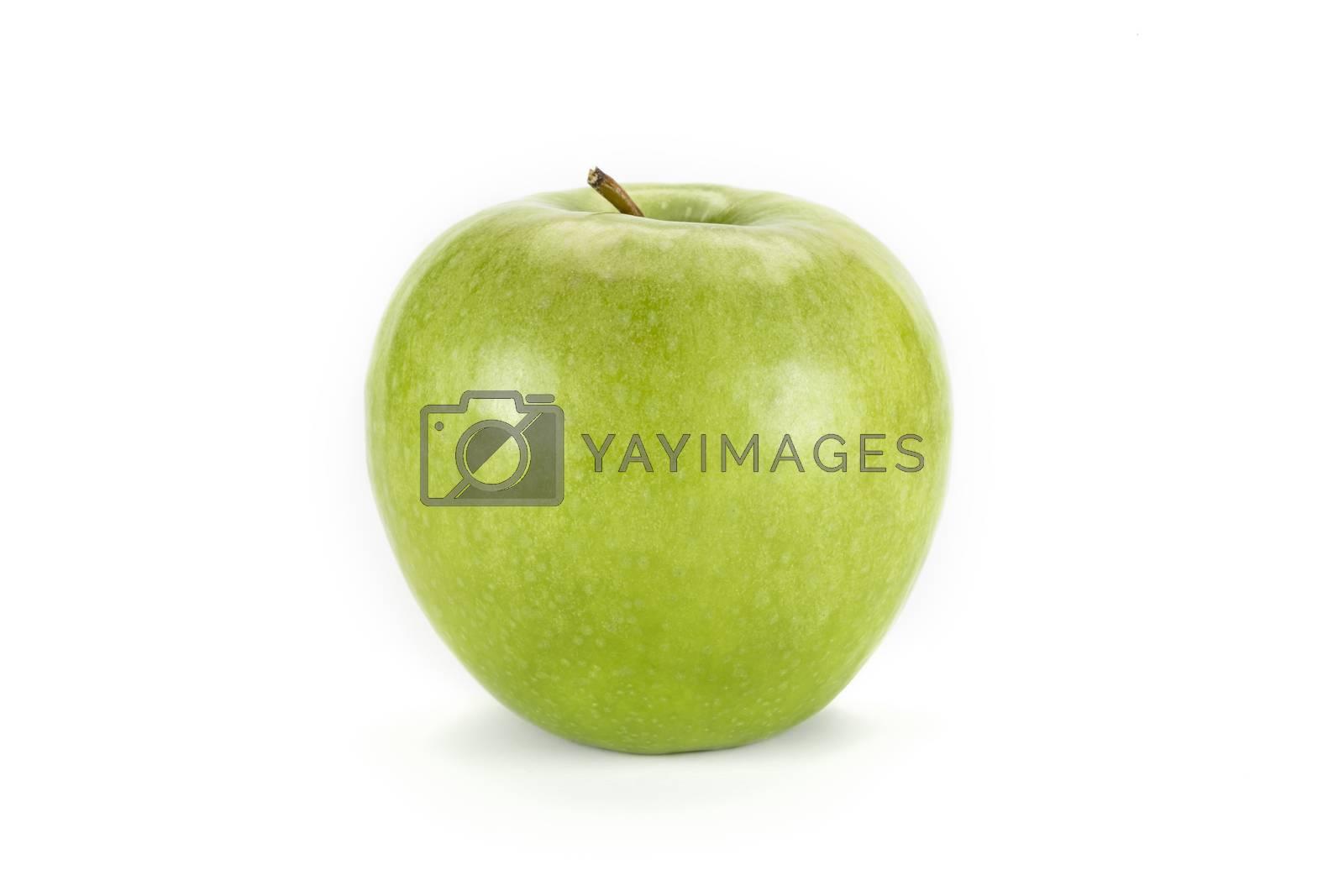 Fresh single green apple, isolated  on white background.