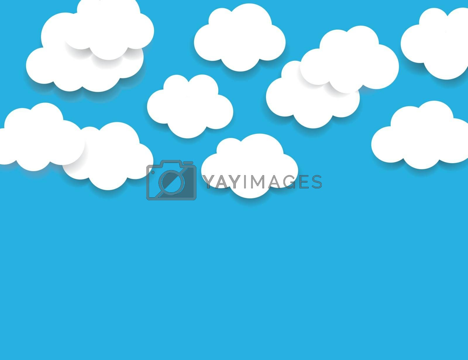 Light blue sky with fluffy white clouds background. Paper cartoon clouds with shadow. Can be used as border, icon, sign, element for web design or business presentations. Simple vector illustration
