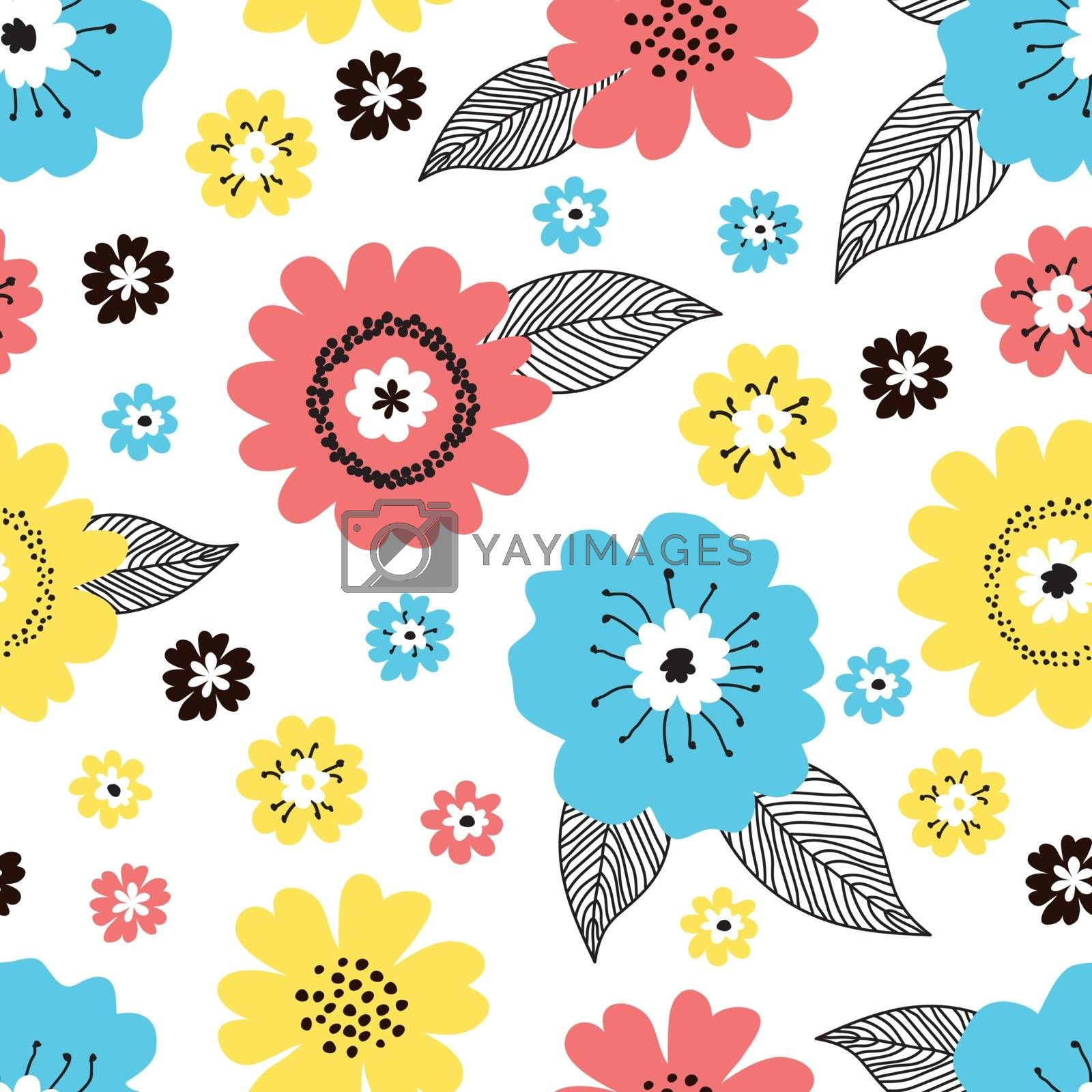 Seamless cute floral pattern with hand drawn various colorful blue, red yellow spring flowers with black leaves on white background. Vintage retro style vector design for fabric, wrapping paper, cover.