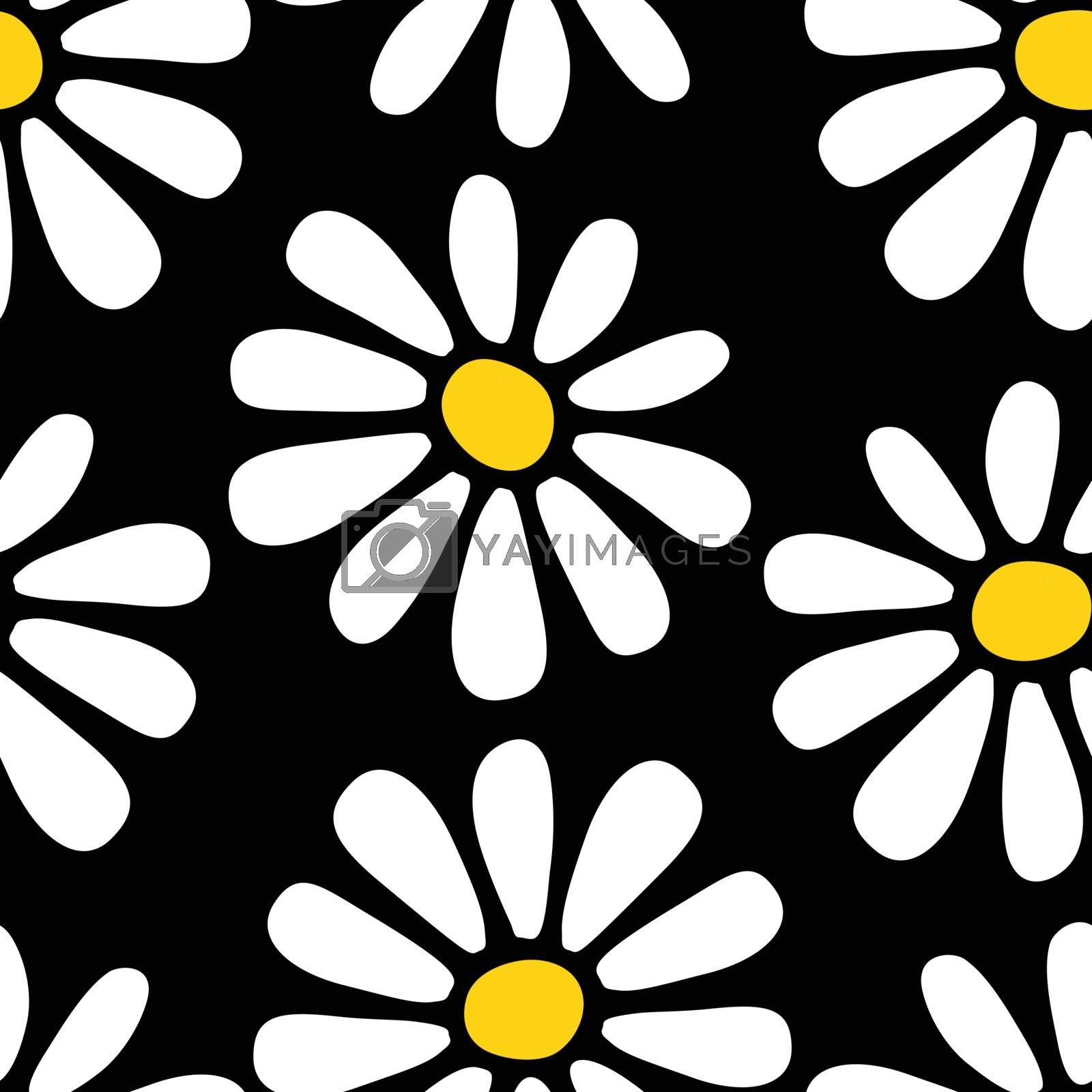 Decorative seamless floral pattern with hand drawn white yellow daisy flowers on black background. Retro style flat design for fabric textile, wallpaper, wrapping paper, package, covers. Vector EPS10.