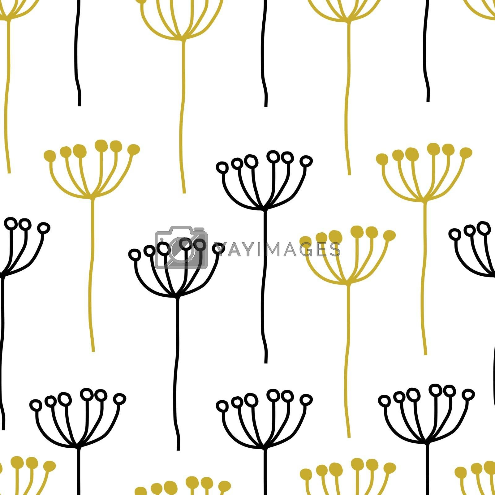 Seamless decorative abstract floral pattern of simple plant black, yellow golden on white background. Vintage retro style. Vector design for fabric textile, wallpaper, wrapping paper, package, cover. by Henkeova
