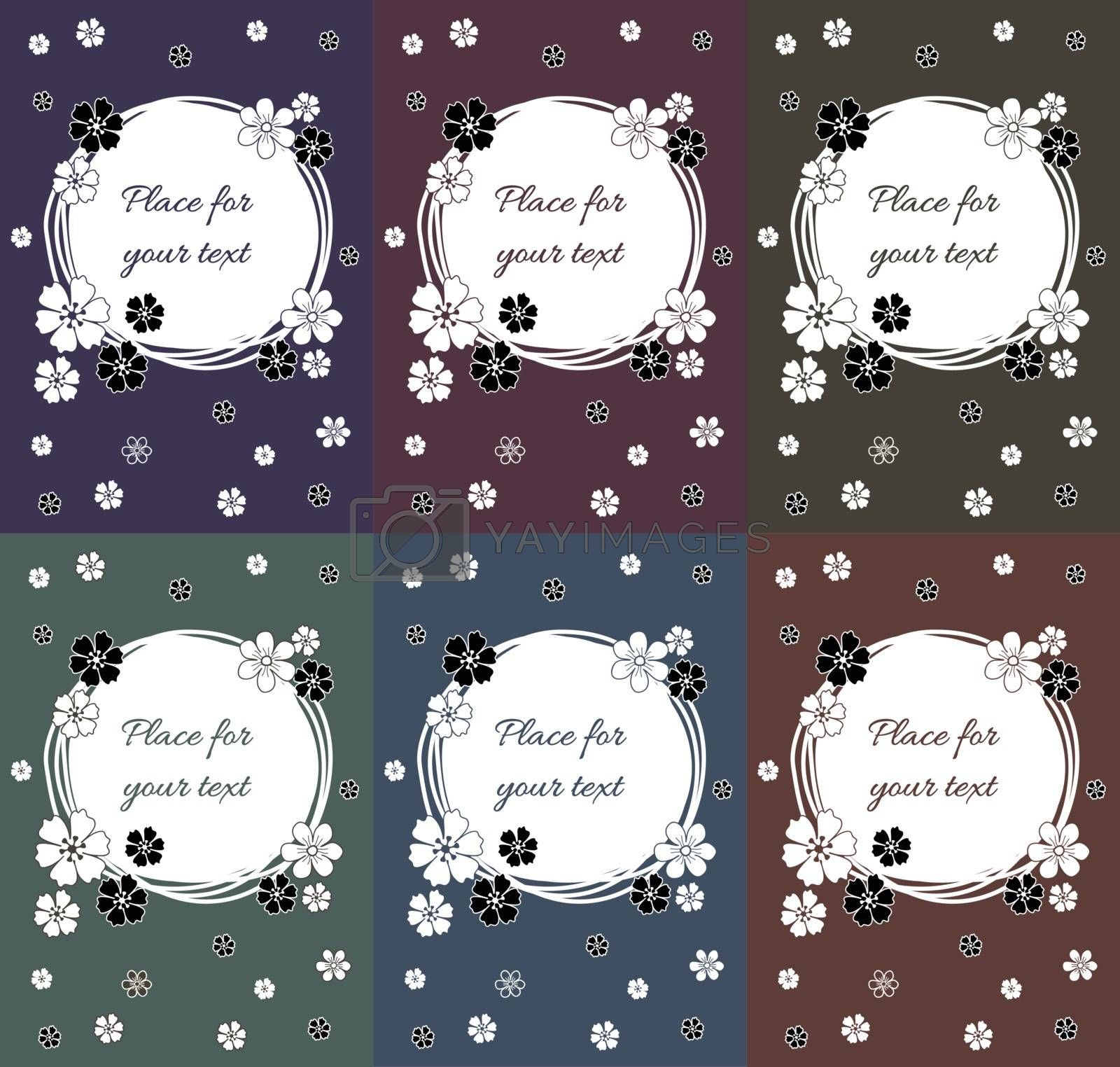 Floral greeting card design collection with black and white hand drawn spring flowers in retro vintage colors. Circular copy space. EPS 10 vector illustration