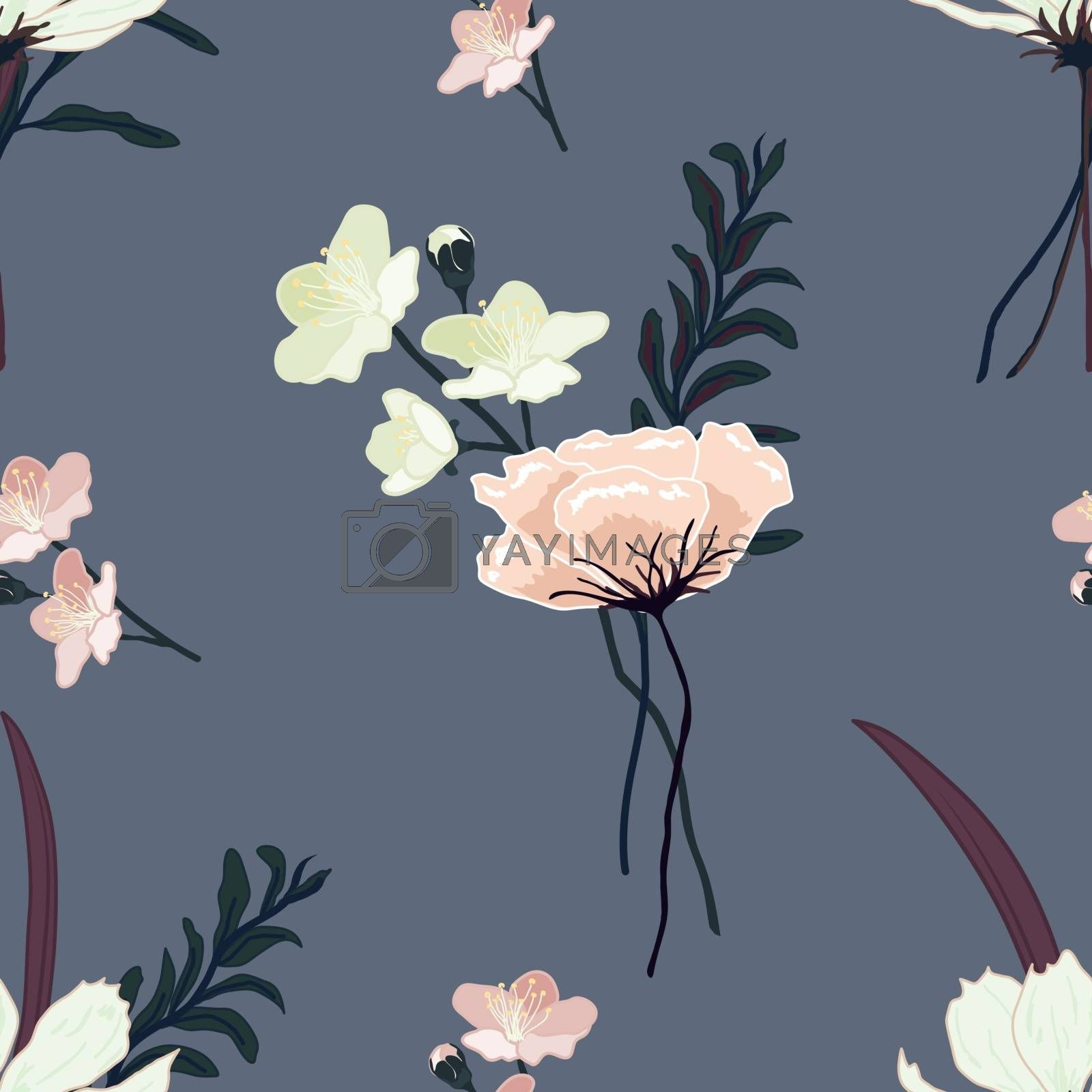 Decorative seamless floral pattern with hand drawn vintage flowers. Wallpaper with lily, camellia rose, cherry blossom, grass and leaves bouquet on blue grey background, vector eps 10 illustration