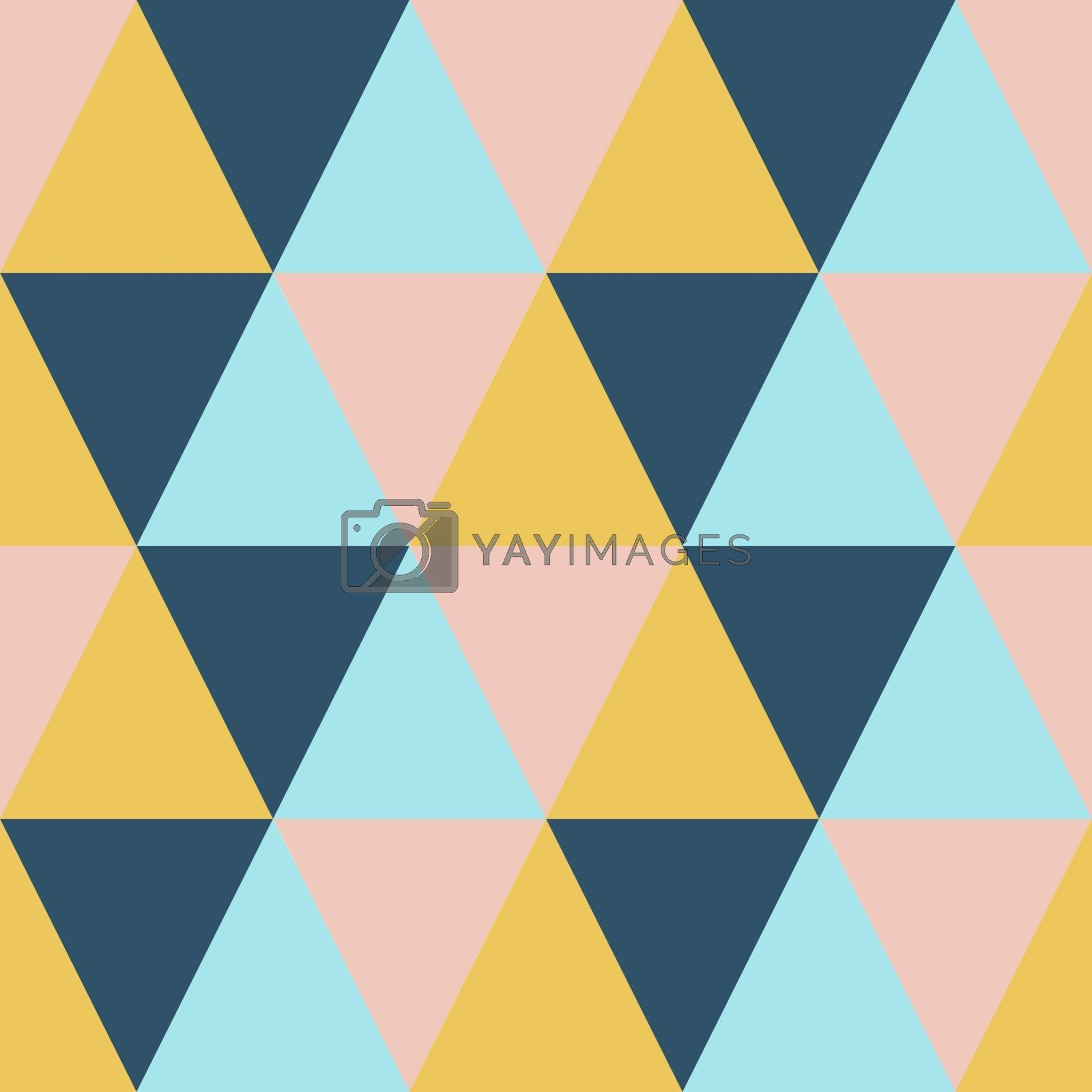 Abstract geometric mosaic triangle seamless pattern. Colorful tile vector retro background illustration in orange, pink, blue and green. by Henkeova