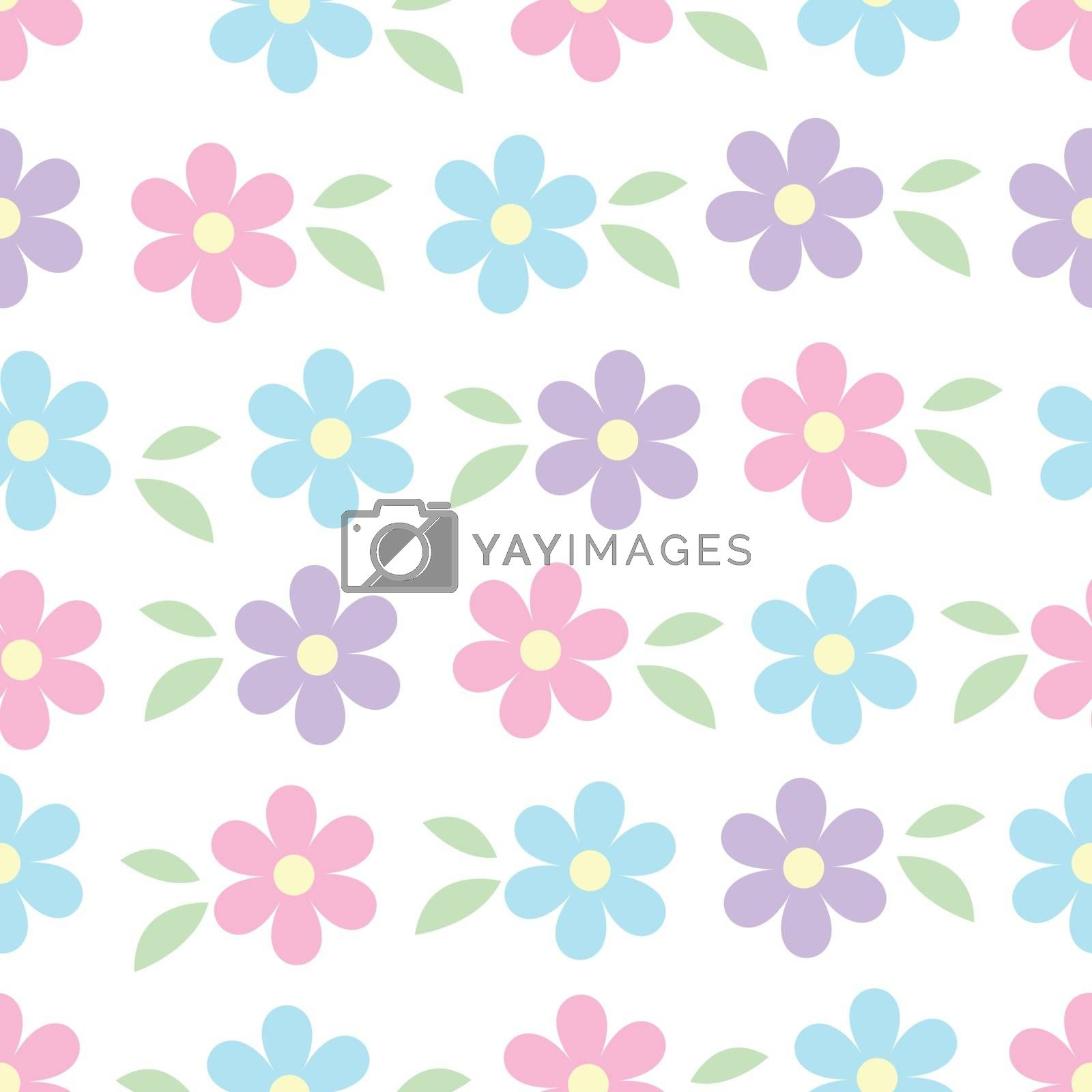Vector seamless pattern of blue pink and violet simple flowers with green leaves isolated on white. Spring romantic floral texture. For easter, mothers, womens, Wedding day card, texture and fabric by Henkeova