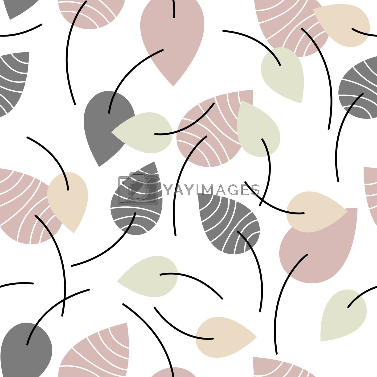 Decorative seamless pattern with grey, beige, orange and green striped flat leaves on white background. For fabric, wallpaper, wrapping paper, pattern fills, textile, web textures. Vector Eps 10.