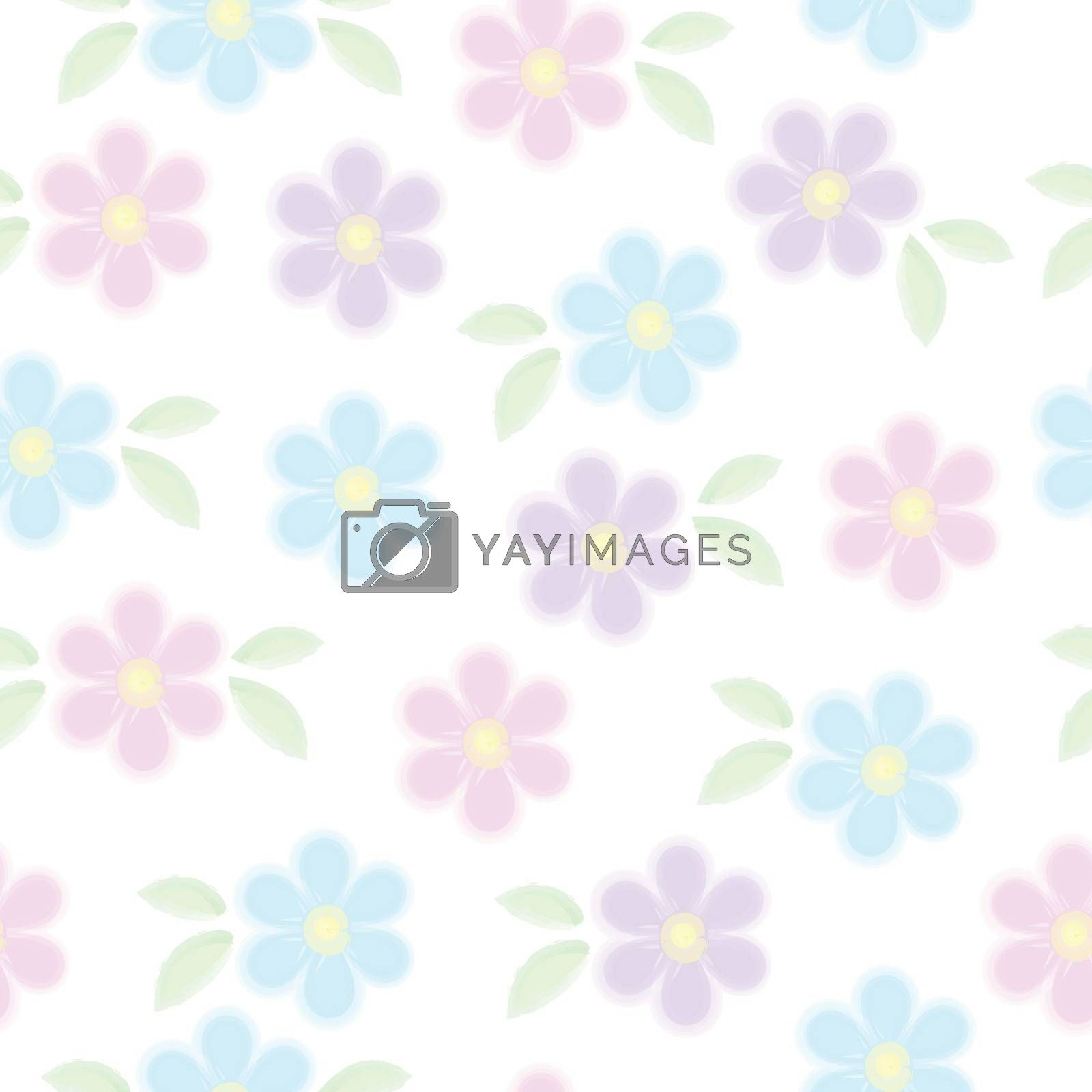 Vector seamless pattern of blue pink and violet forget me not flowers with leaves isolated on white. Spring romantic watercolor floral texture. For easter, mothers, womens, Wedding day card, texture and fabric by Henkeova