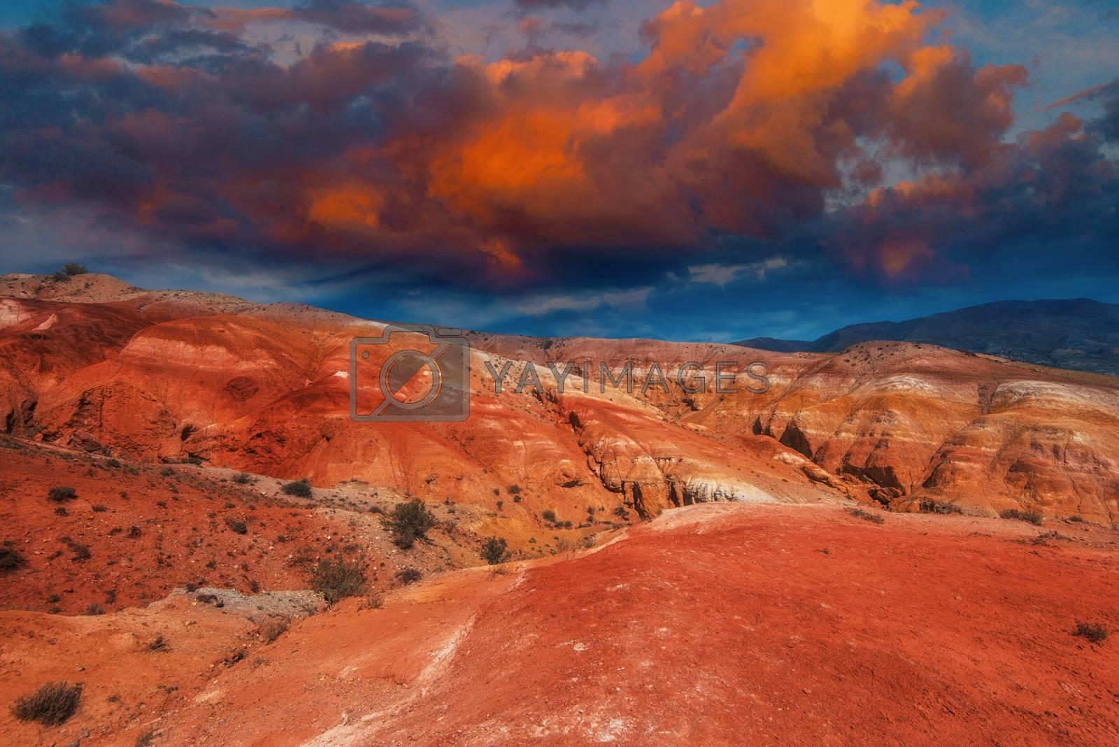 Mars landscape with beauty sky sunset