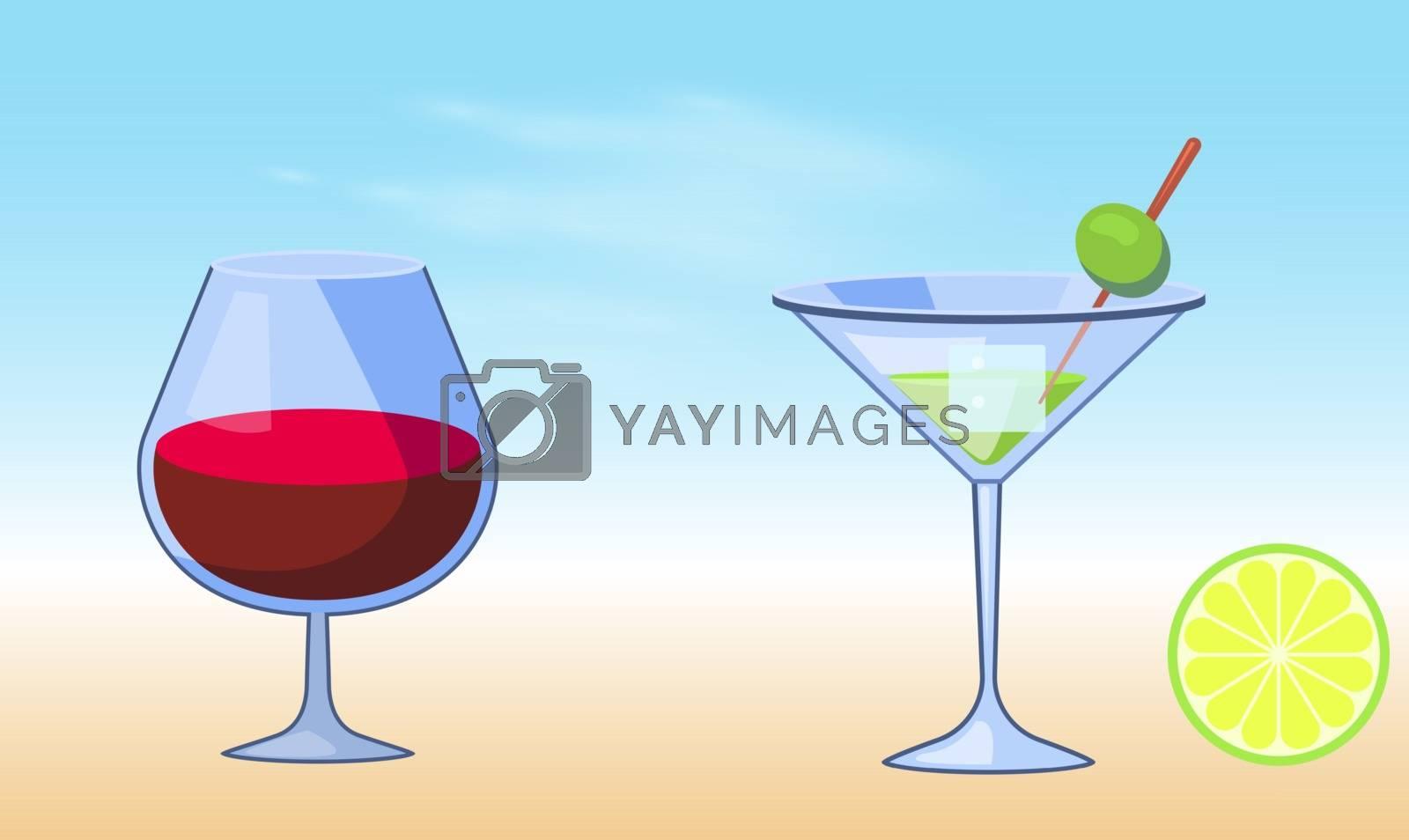 mock up illustration of mocktail glass on abstract background