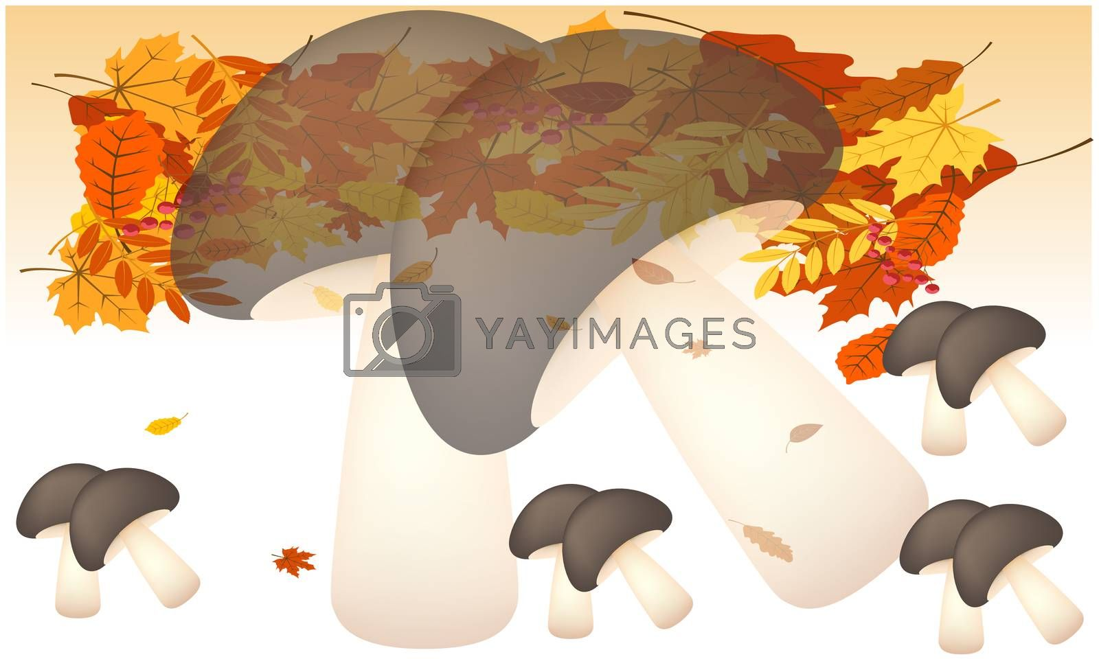 digital textile design of leaves and vegetables on abstract background