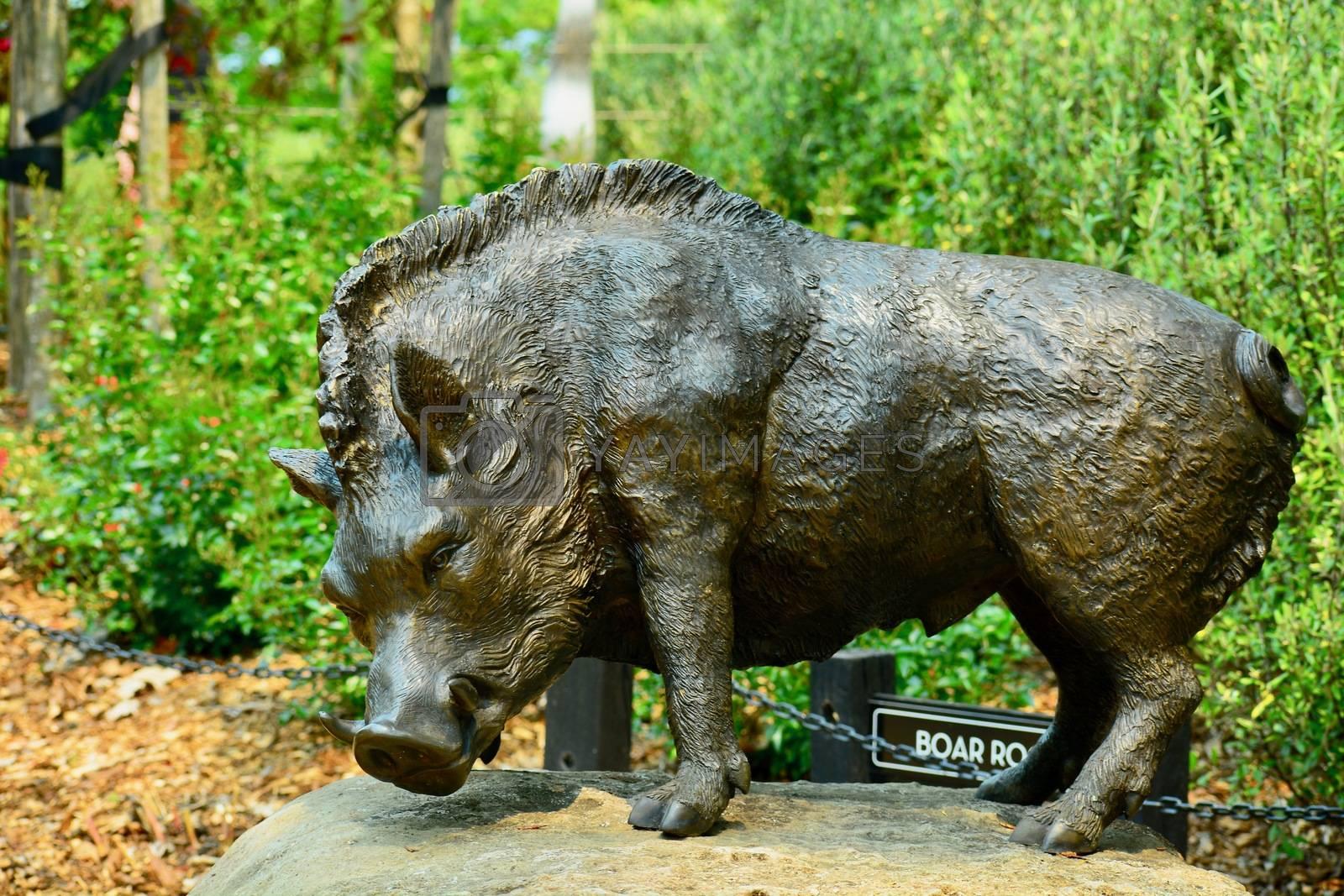 A bronze garden sculpture; tourist attraction