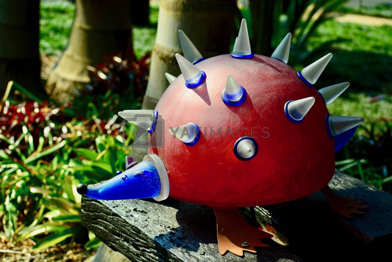 Funny garden sculpture representing a hedgehog.