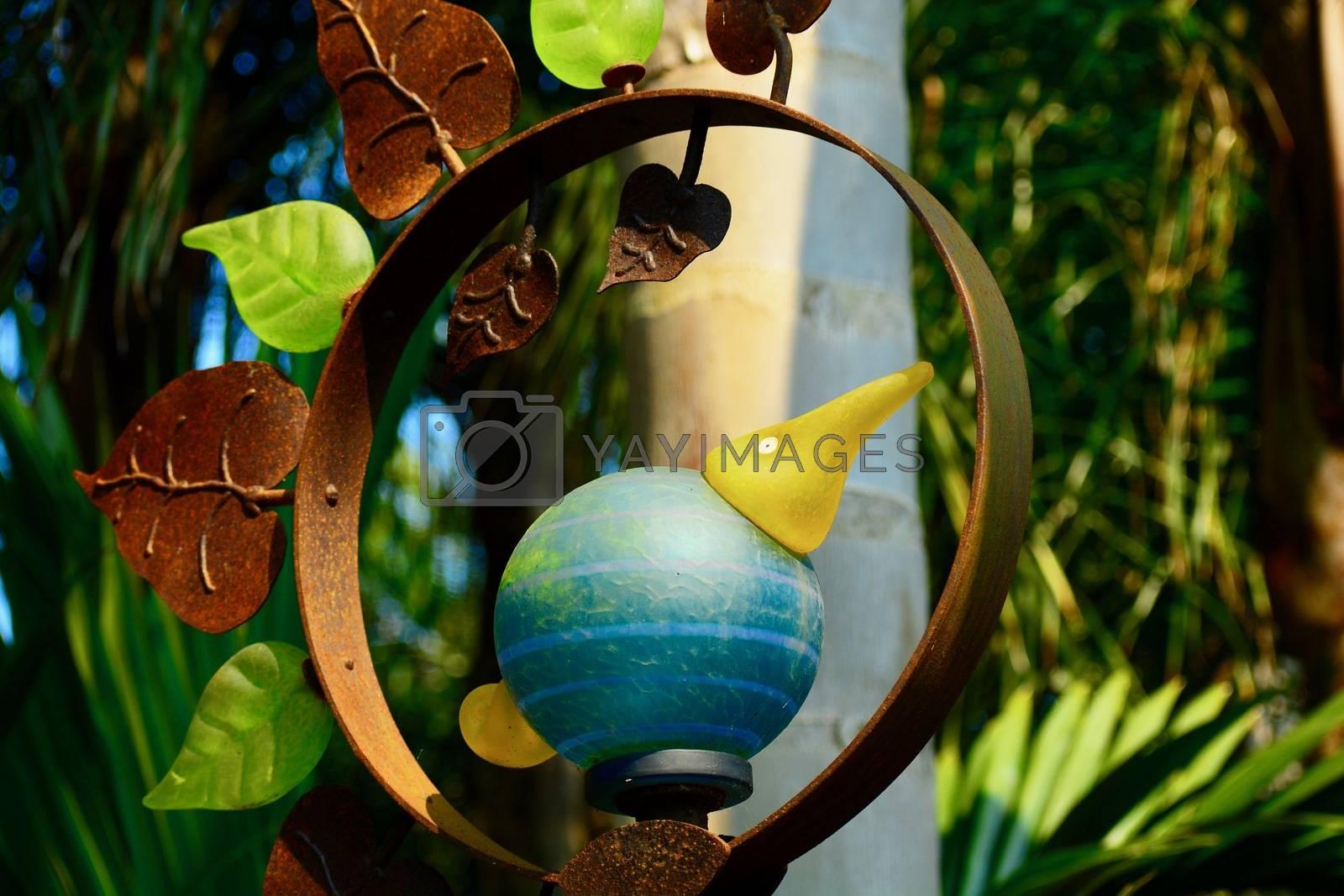 Garden sculpture, glass and metal, a glass bird