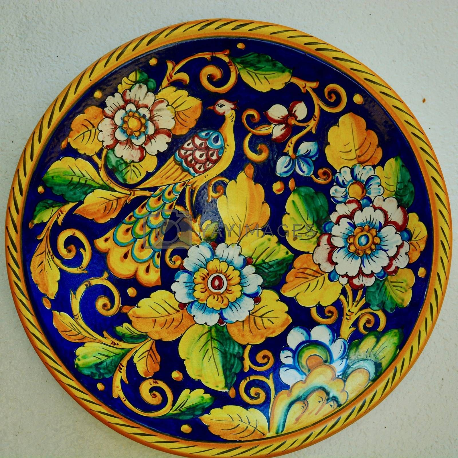 Decorative porcelain plates, cheerful and  brightly coloured