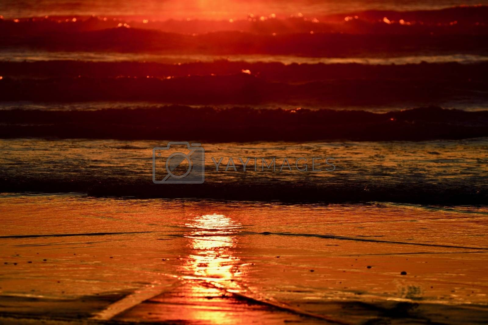 Beautiful colours of approaching night; sky and sea in the evening; wonderful colours of sunset