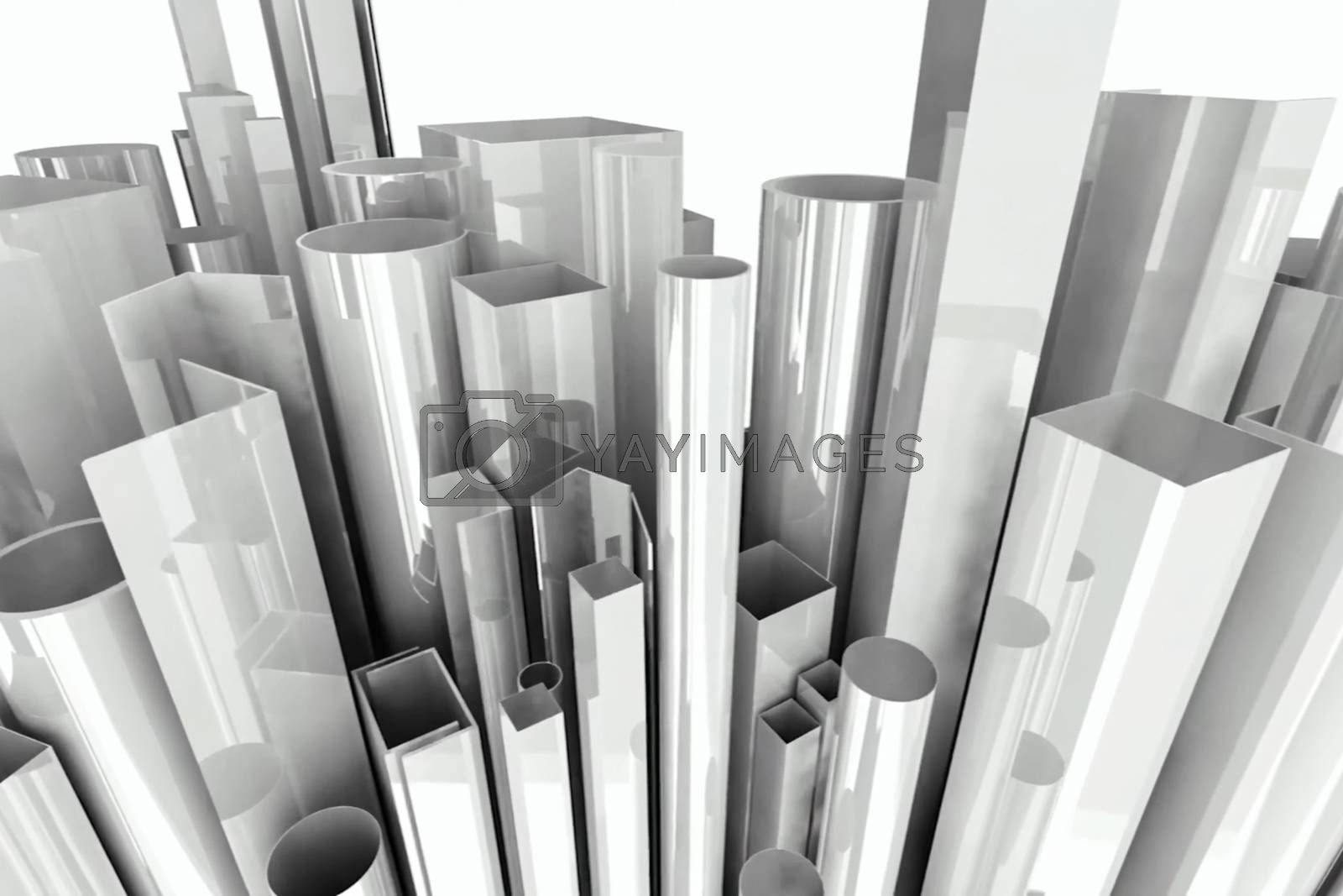 Illustration of round and square white pipes of different heights.