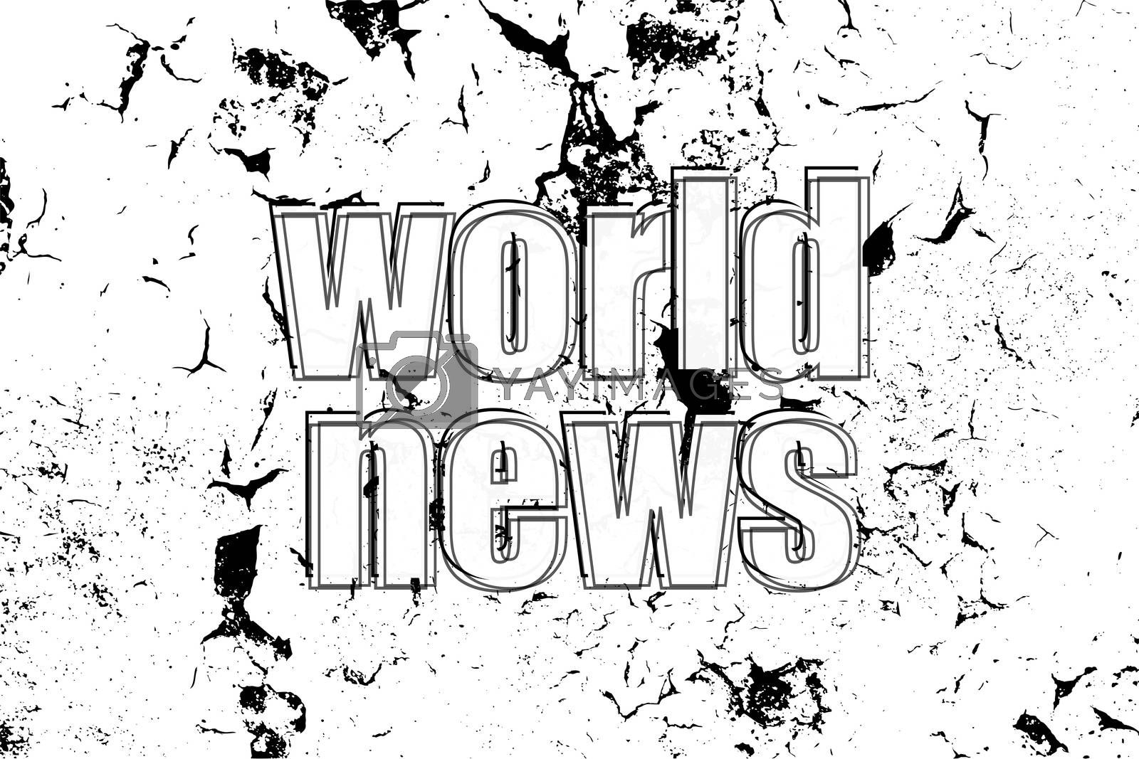 Text World News. News and press concept . Painted word on white black vintage old background