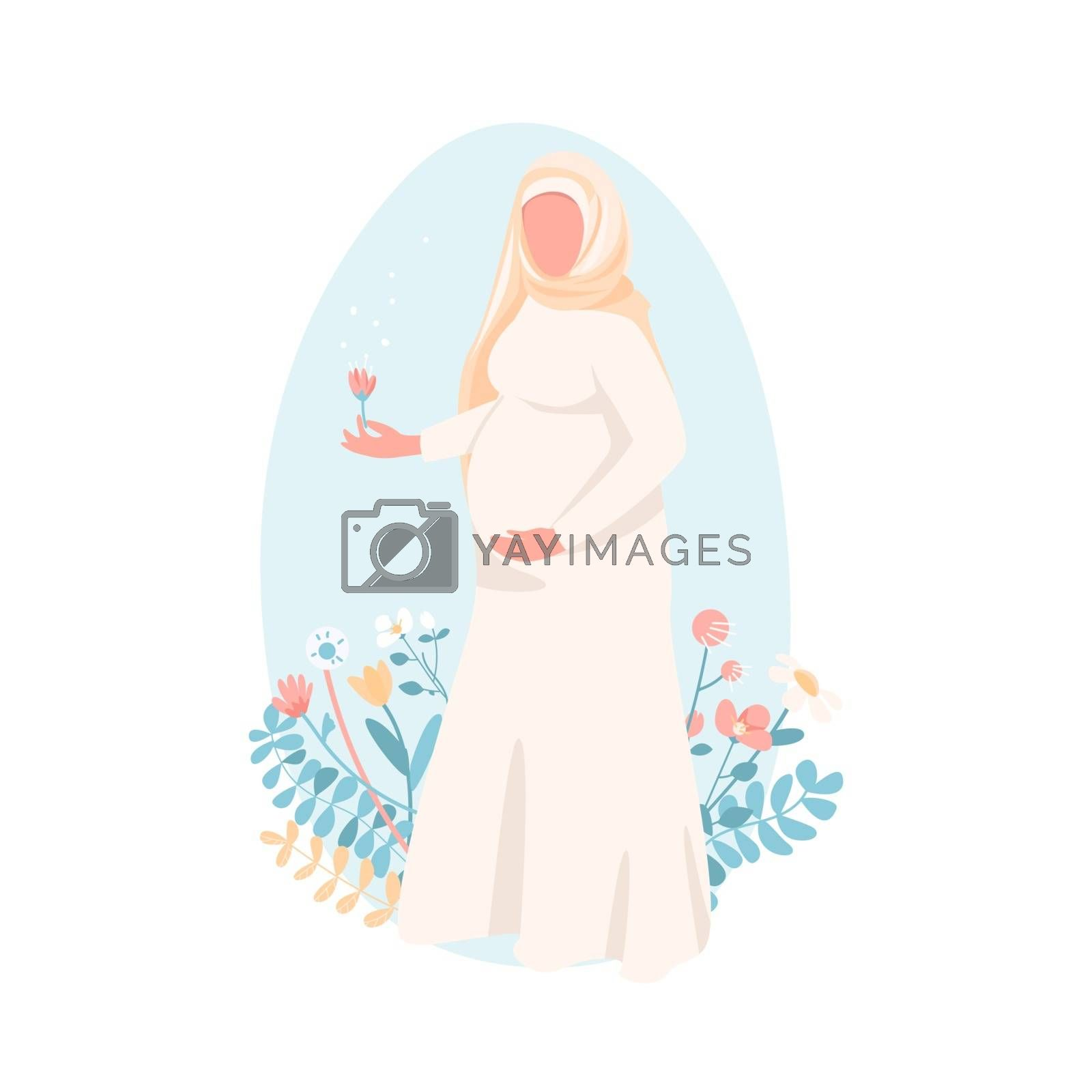 Pregnant muslim woman flat color vector faceless character. Happy young mother. Female with baby belly. Prenatal care. Maternity isolated cartoon illustration for web graphic design and animation