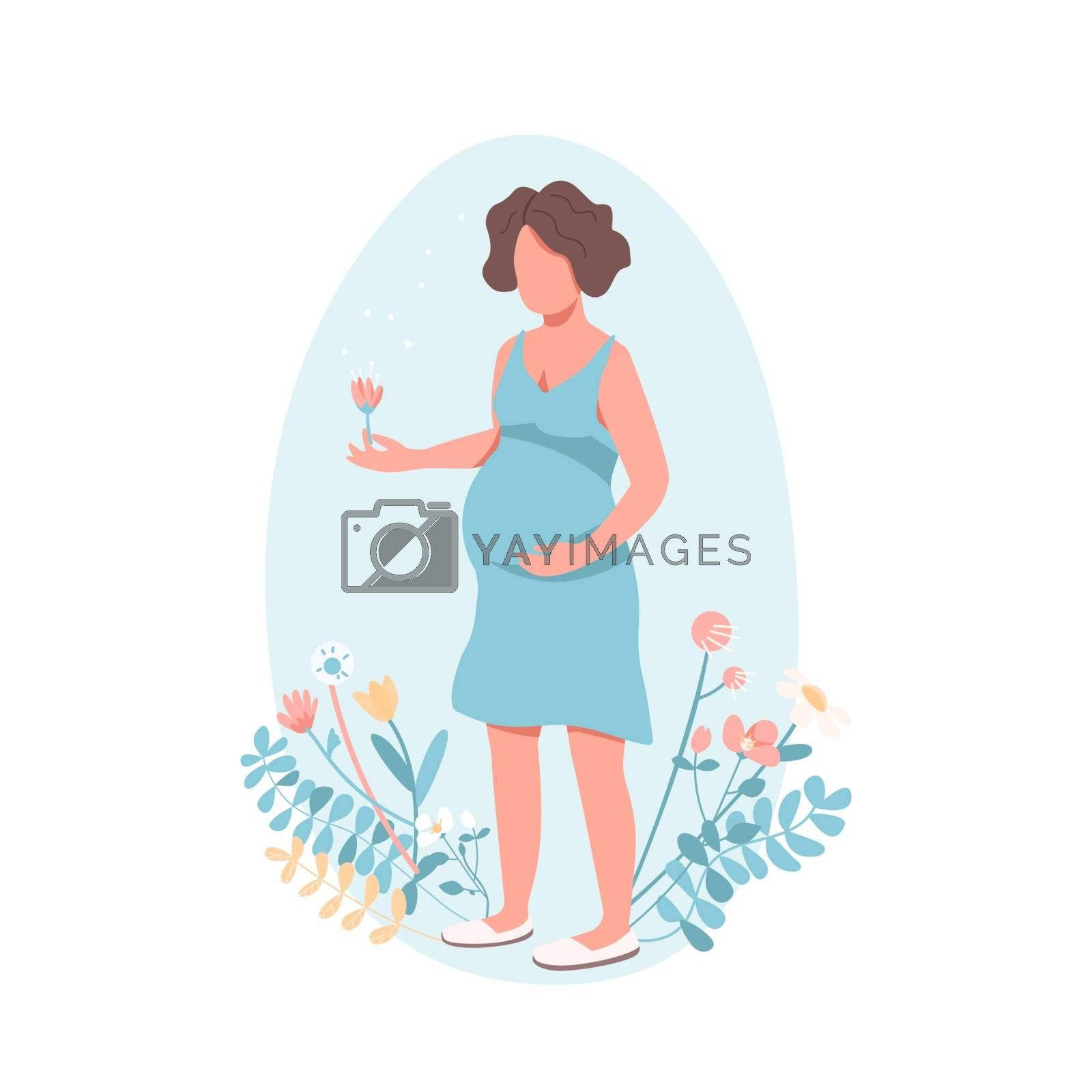 Happy pregnant woman flat color vector faceless character. Child birth. Girl expecting baby. Woman with belly. Maternity isolated cartoon illustration for web graphic design and animation