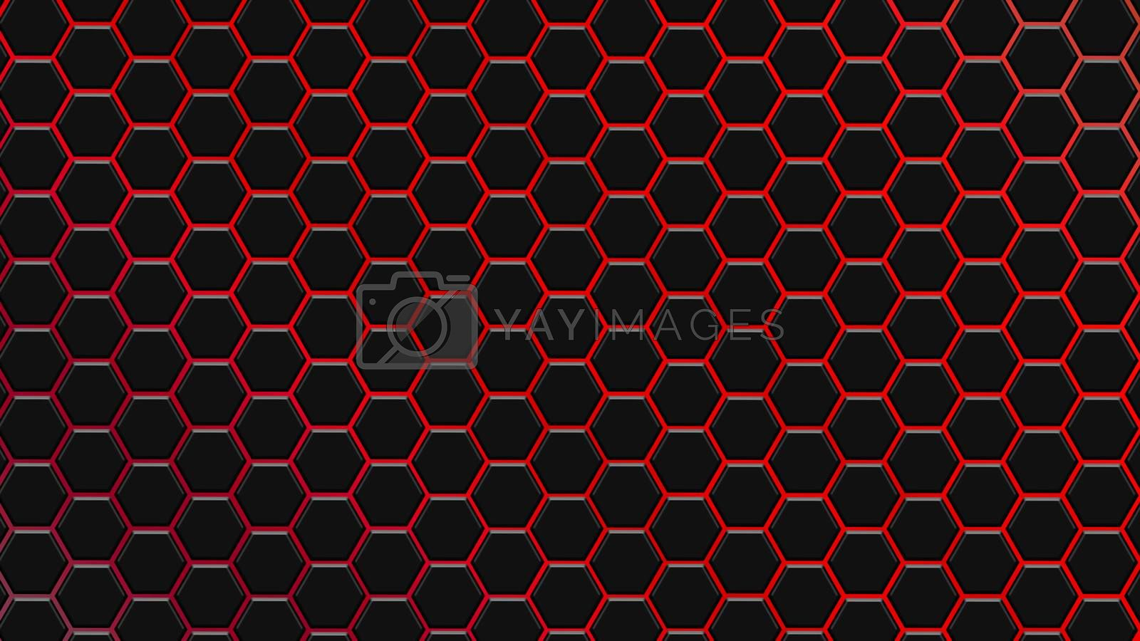 Red hexagonal texture. Abstract background for design.