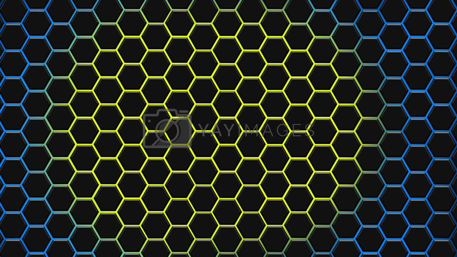 Yellow and blue hexagonal texture. Abstract background for design.