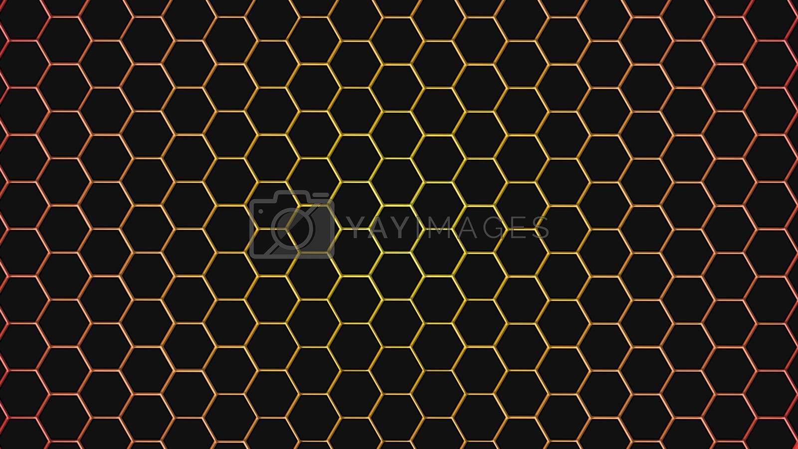 Yellow hexagonal texture. Abstract background for design.