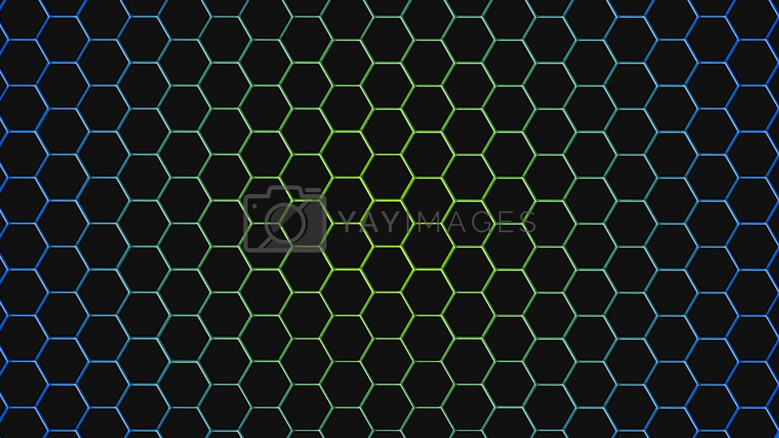 Green and blue hexagonal texture. Abstract background for design.