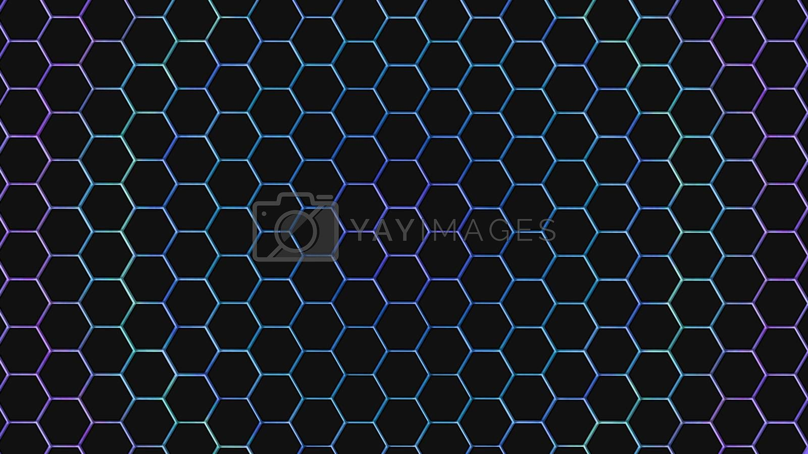 Blue and purple hexagonal texture. Abstract background for design.