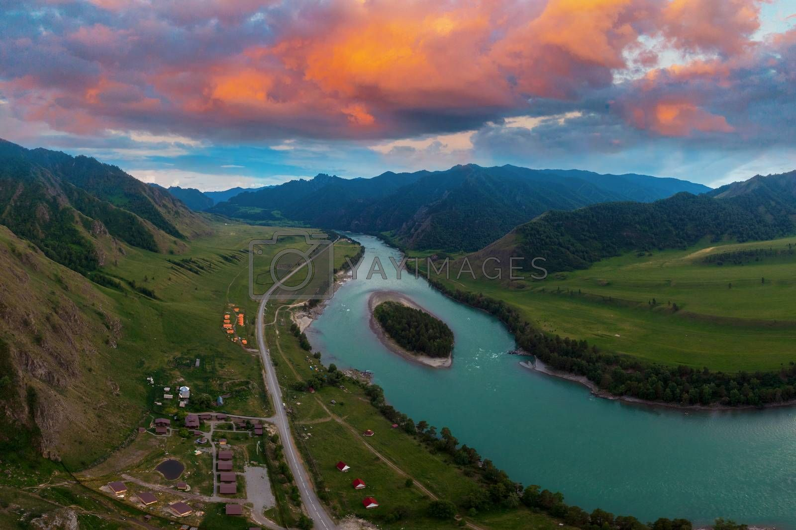 Katun river, with island in the Altai mountains, Siberia, Russia, concept of vacation at home, local tourism or domestic tourism