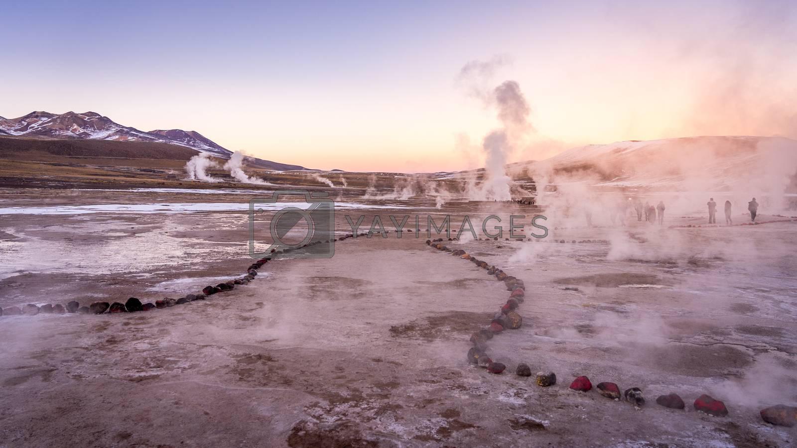 Royalty free image of Sunrise at Geyser El Tatio, San Pedro de Atacama, Chile. by maramade