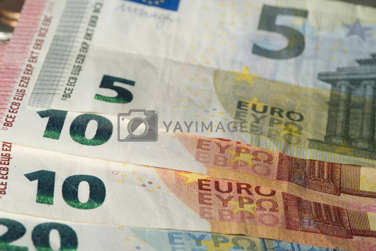 Euro, Thai bank notes and coin types, abstract.